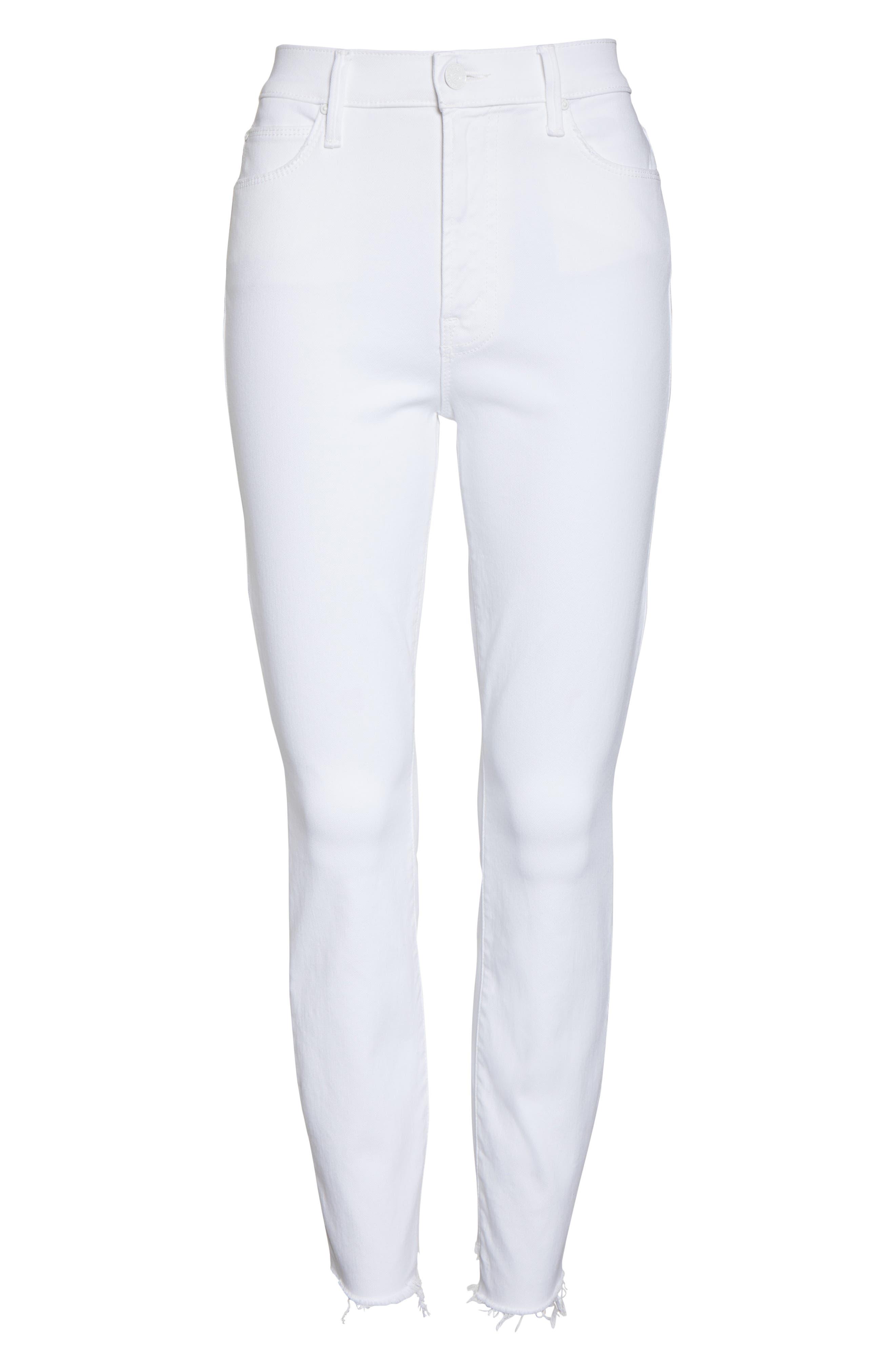 MOTHER, The Stunner Frayed Step Hem Skinny Jeans, Alternate thumbnail 6, color, GLASS SLIPPER