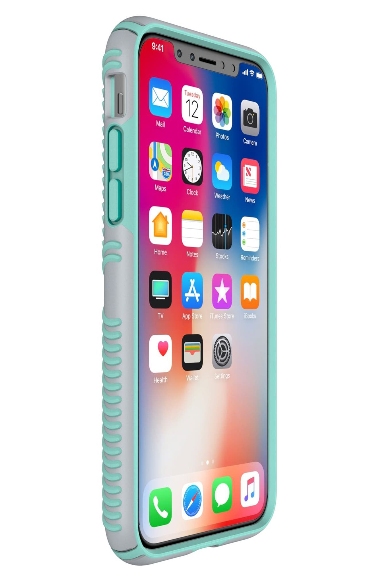 SPECK, iPhone X & Xs Case, Alternate thumbnail 7, color, DOLPHIN GREY/ ALOE GREEN