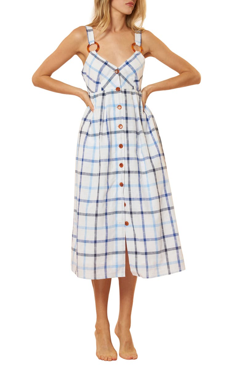 Red Carter SUMMER PLAID COVER-UP MIDI DRESS