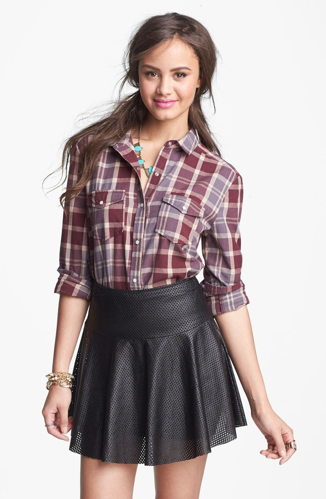 LILY WHITE, Perforated Faux Leather Skater Skirt, Main thumbnail 1, color, 001