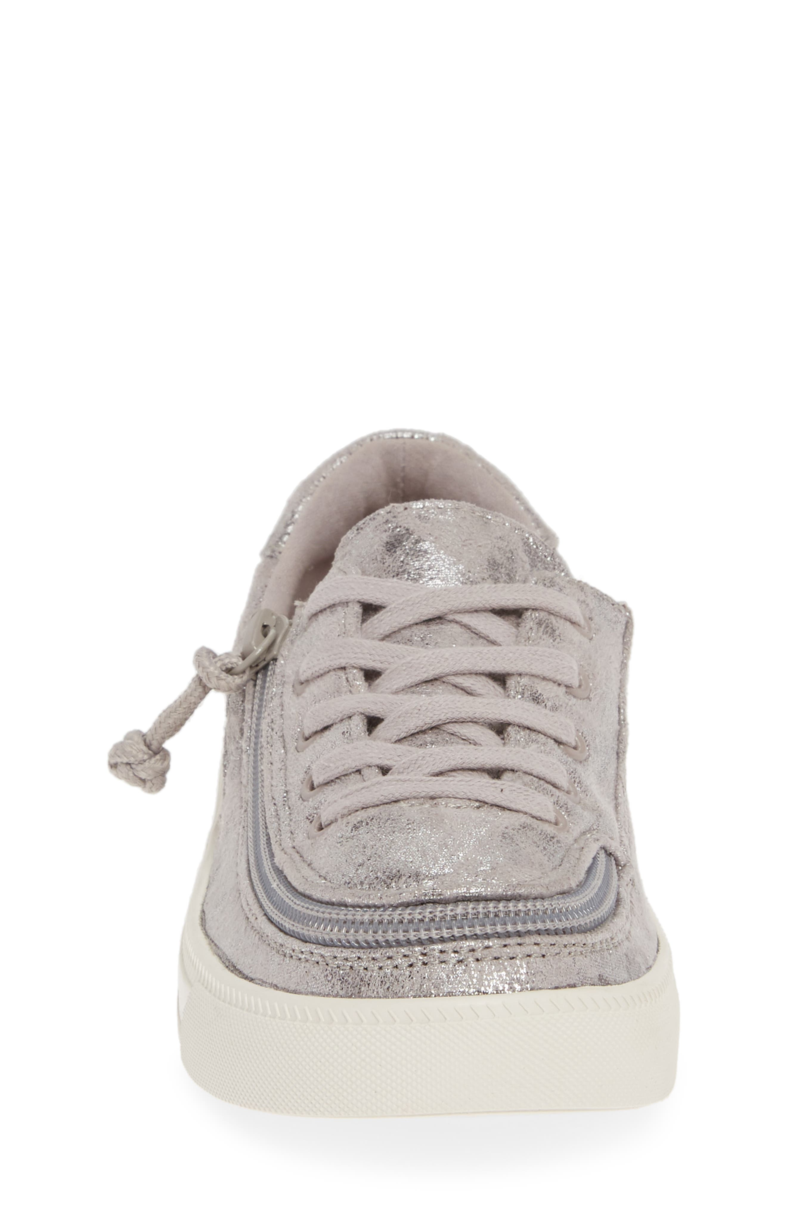 BILLY FOOTWEAR, Zip Around Low Top Sneaker, Alternate thumbnail 4, color, GREY METALLIC