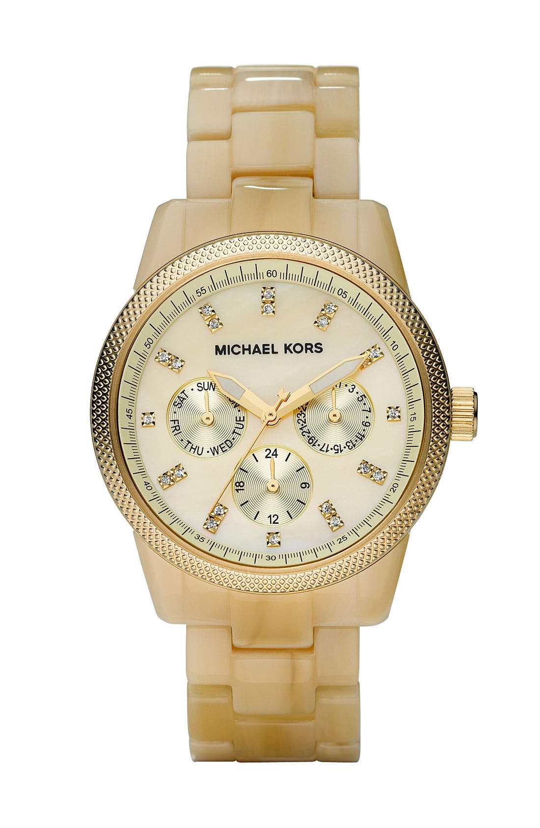 MICHAEL MICHAEL KORS, Michael Kors 'Jet Set' Bracelet Watch, Main thumbnail 1, color, HRN