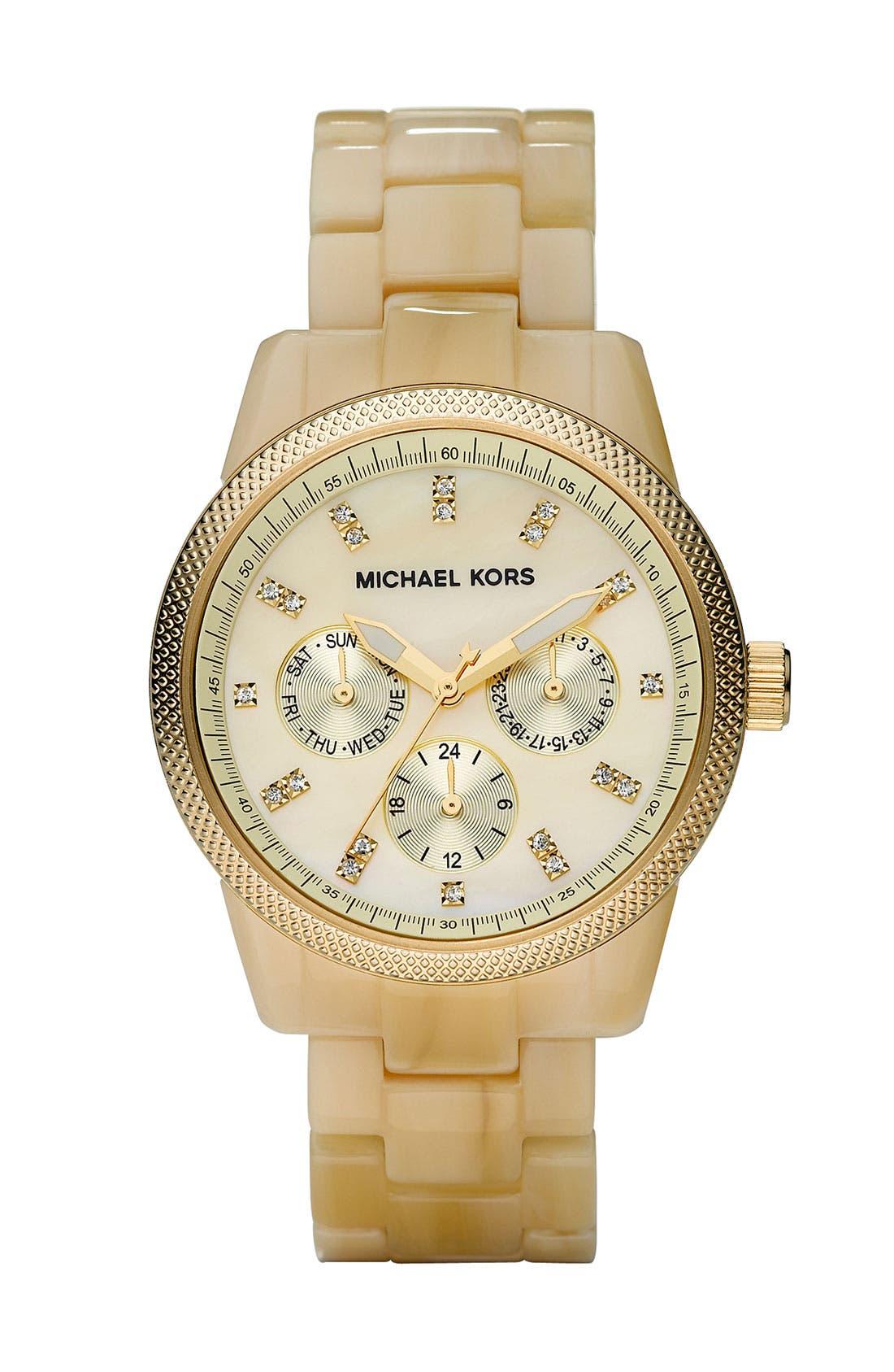 MICHAEL MICHAEL KORS Michael Kors 'Jet Set' Bracelet Watch, Main, color, HRN
