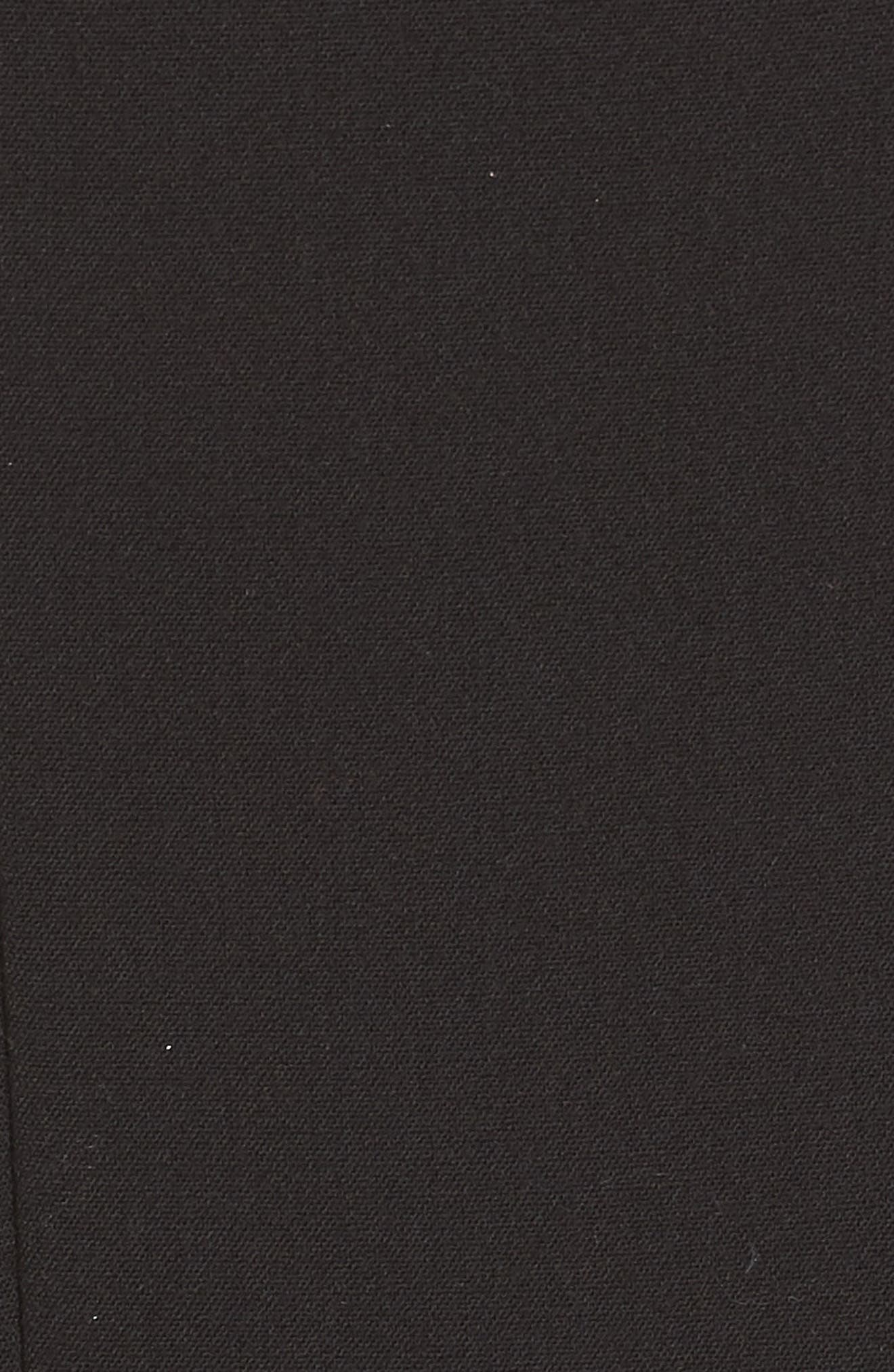 ELIZA J, Bateau Neck Crepe Sheath Dress, Alternate thumbnail 6, color, BLACK