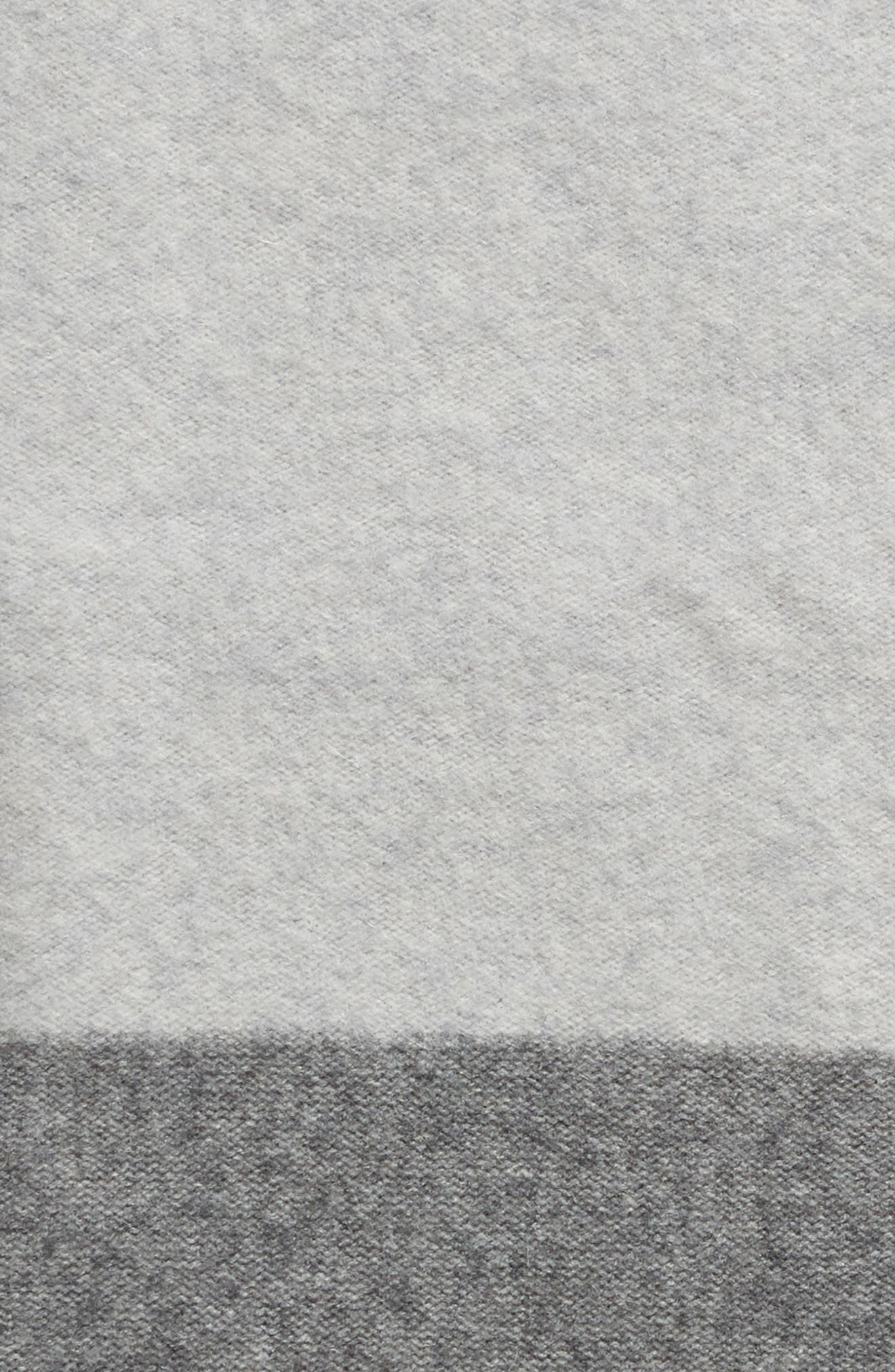 NORDSTROM SIGNATURE, Ombré Stripe Cashmere Throw, Alternate thumbnail 2, color, GREY CLAY MULTI