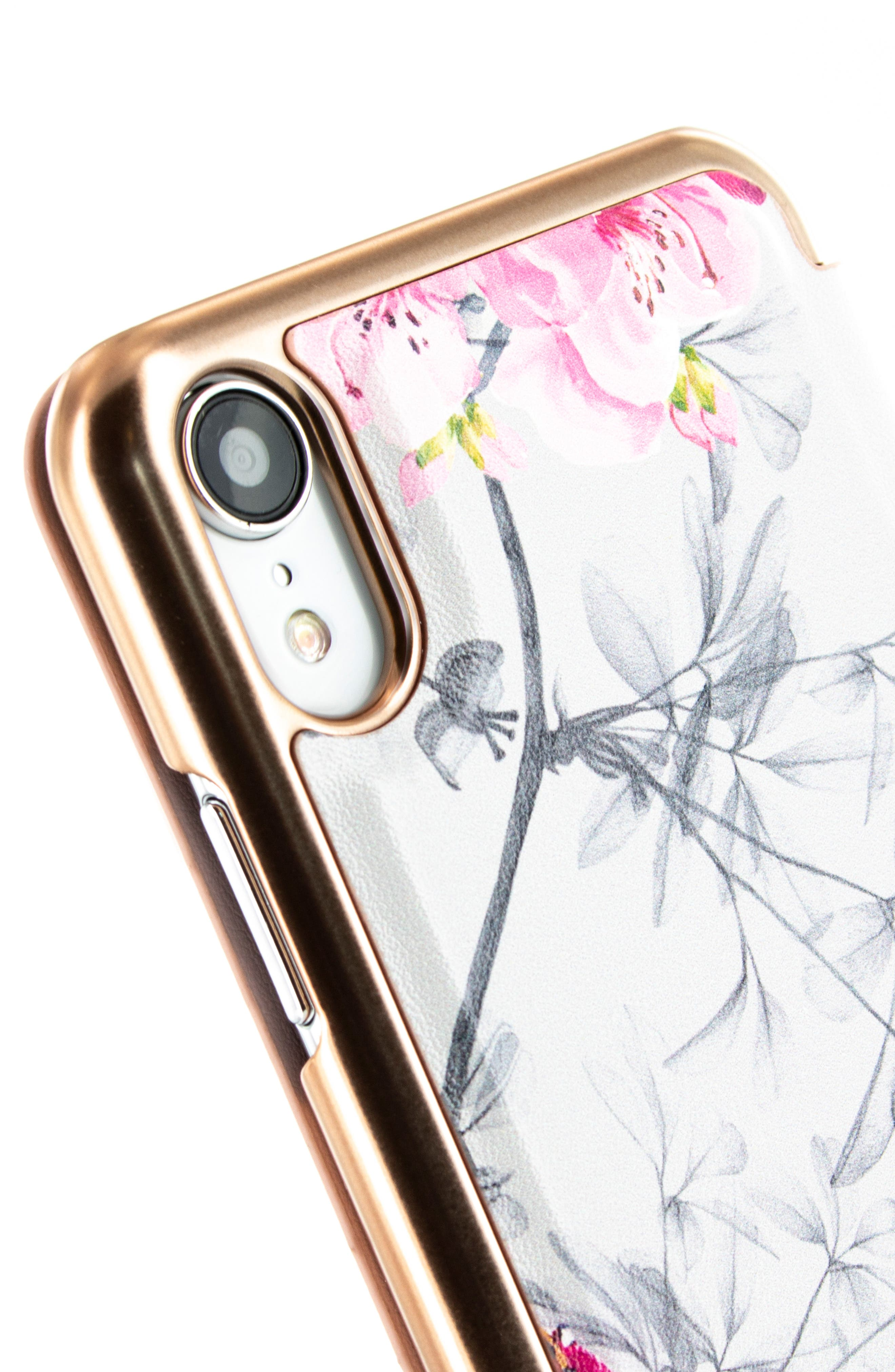 TED BAKER LONDON, Babylon iPhone X/Xs/Xs Max & XR Mirror Folio Case, Alternate thumbnail 4, color, GREY