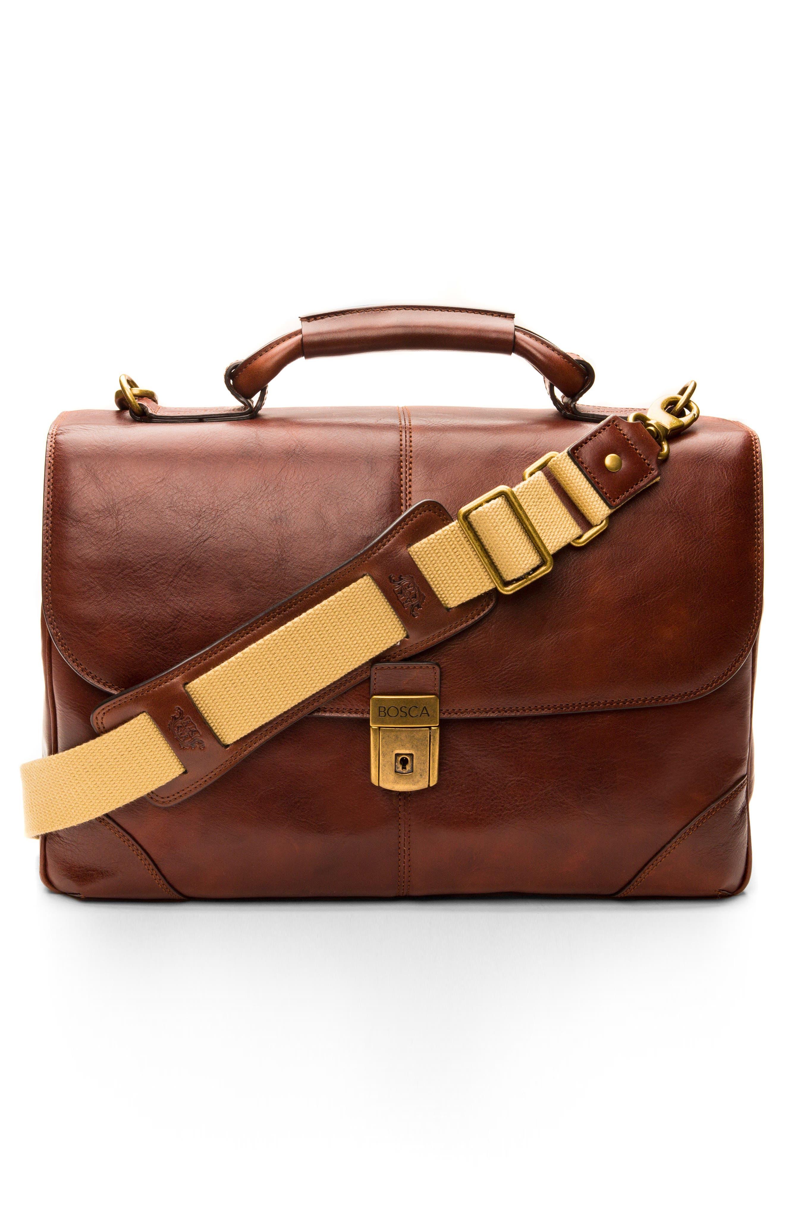 BOSCA, Leather Briefcase, Alternate thumbnail 7, color, DARK BROWN