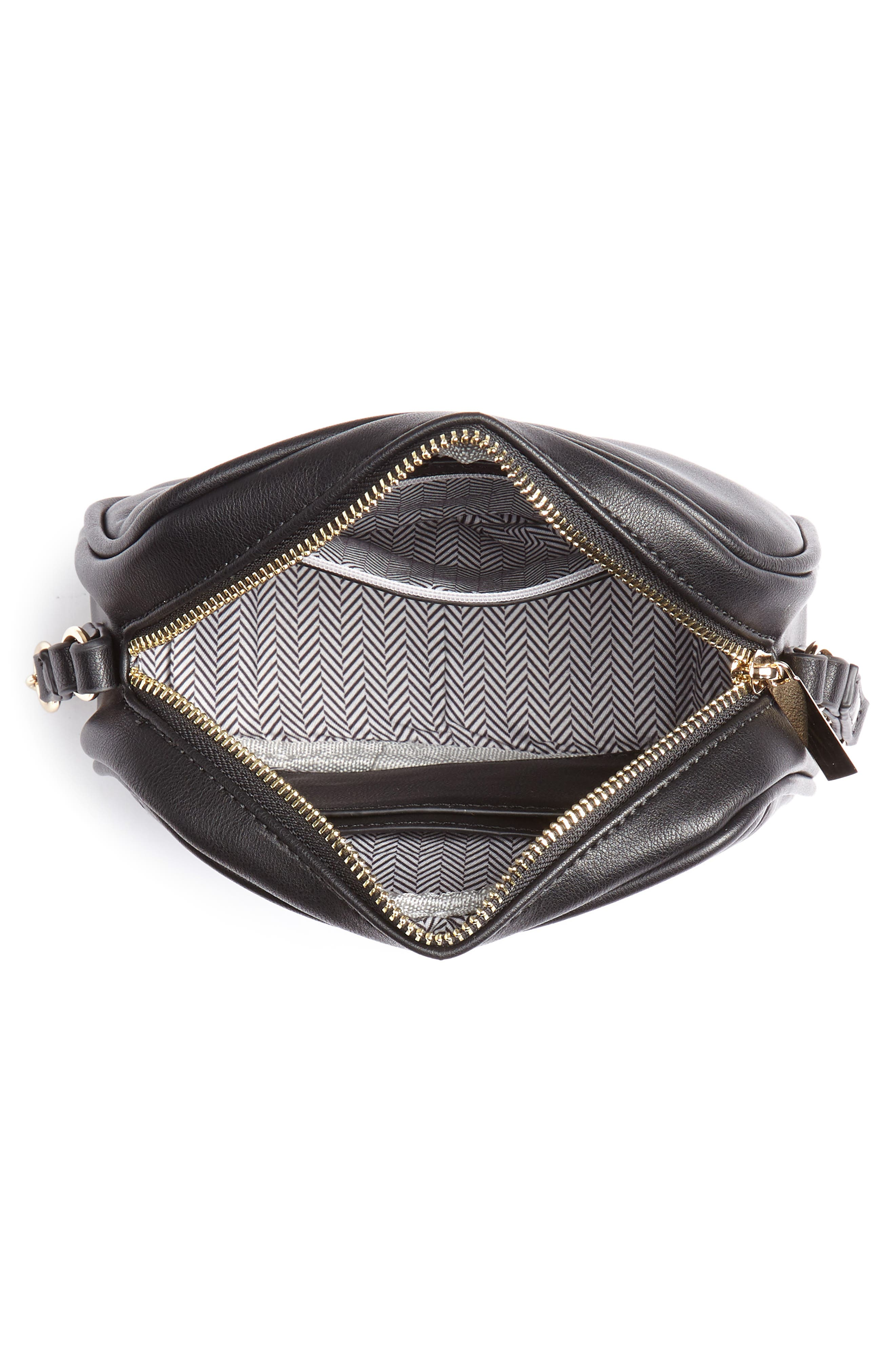 MALI + LILI, Cassidy Vegan Leather Crossbody Camera Bag, Alternate thumbnail 5, color, 001