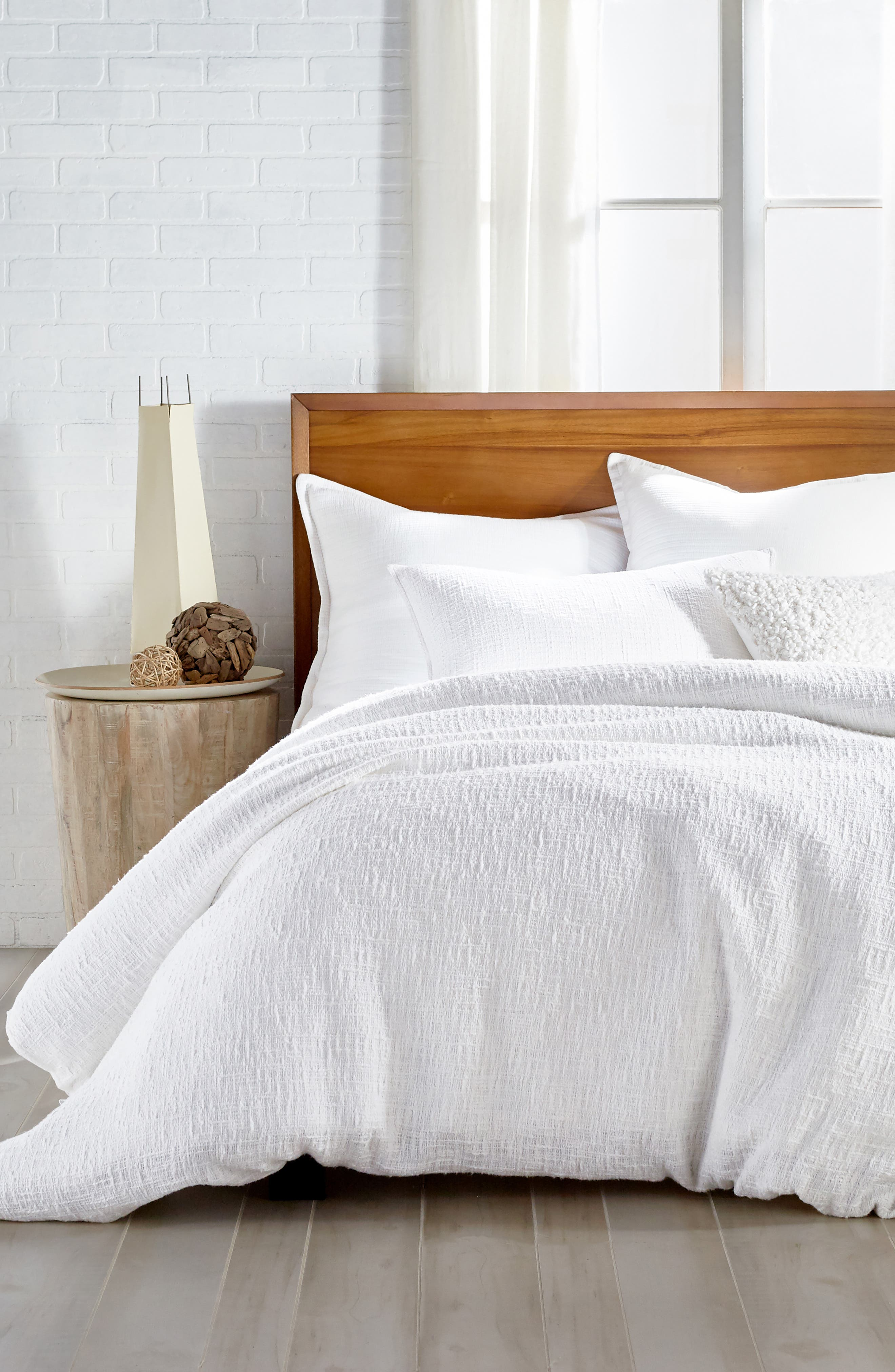 DKNY, Pure Texture Duvet Cover, Main thumbnail 1, color, WHITE