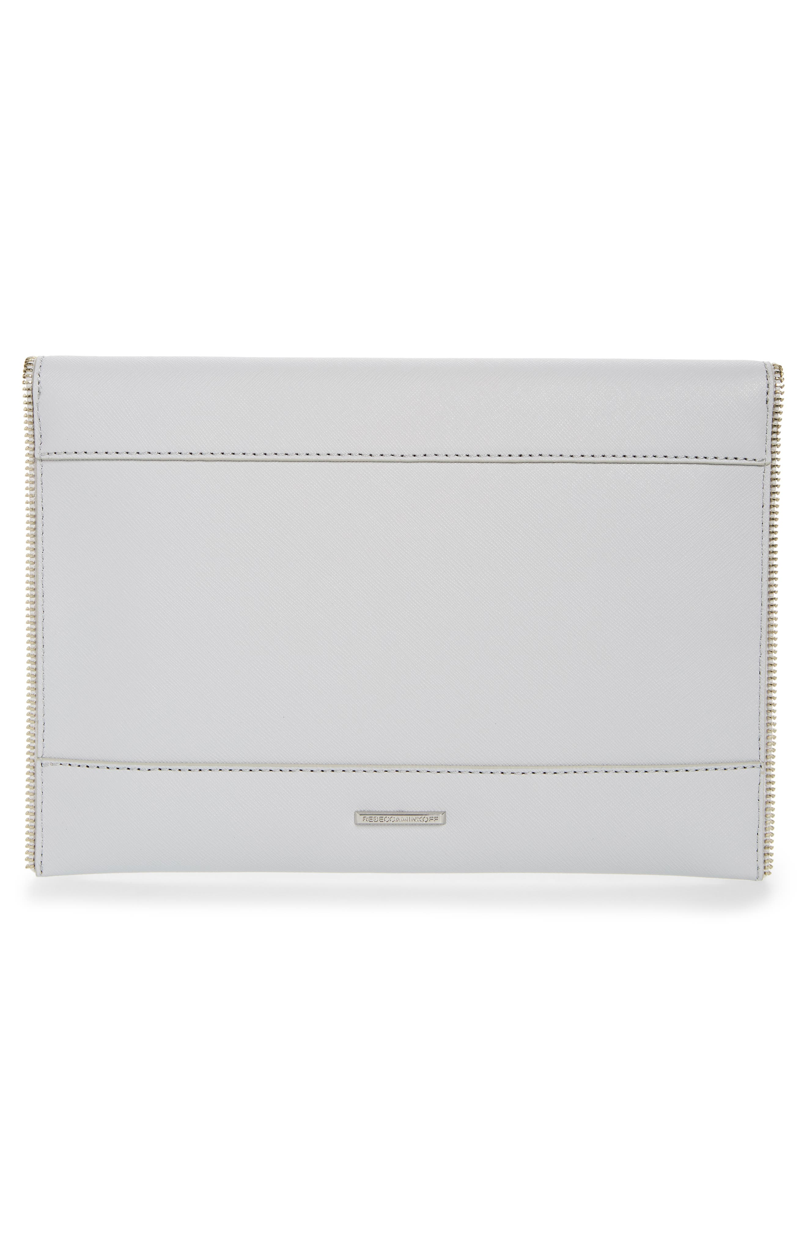REBECCA MINKOFF, Leo Envelope Clutch, Alternate thumbnail 3, color, ICE GREY