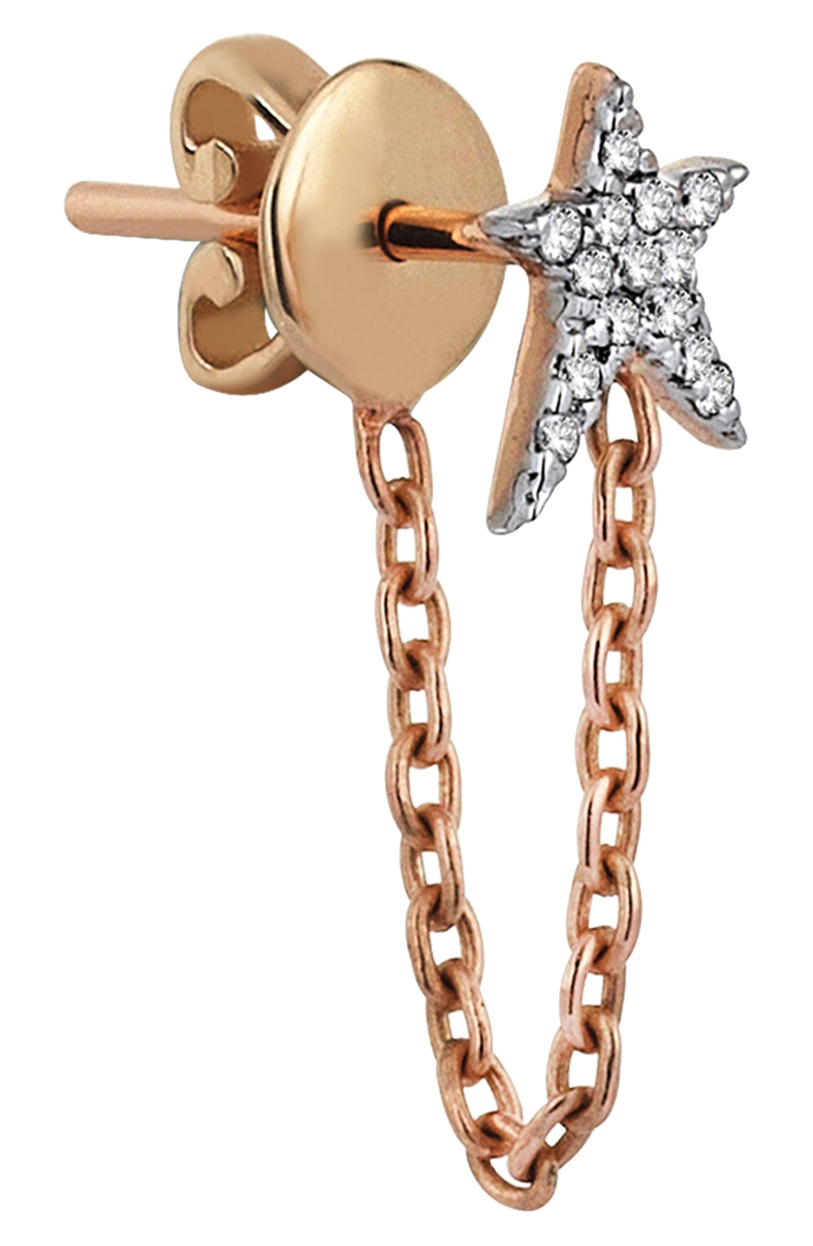 KISMET BY MILKA, Struck Star Diamond Chain Earring, Alternate thumbnail 2, color, ROSE GOLD