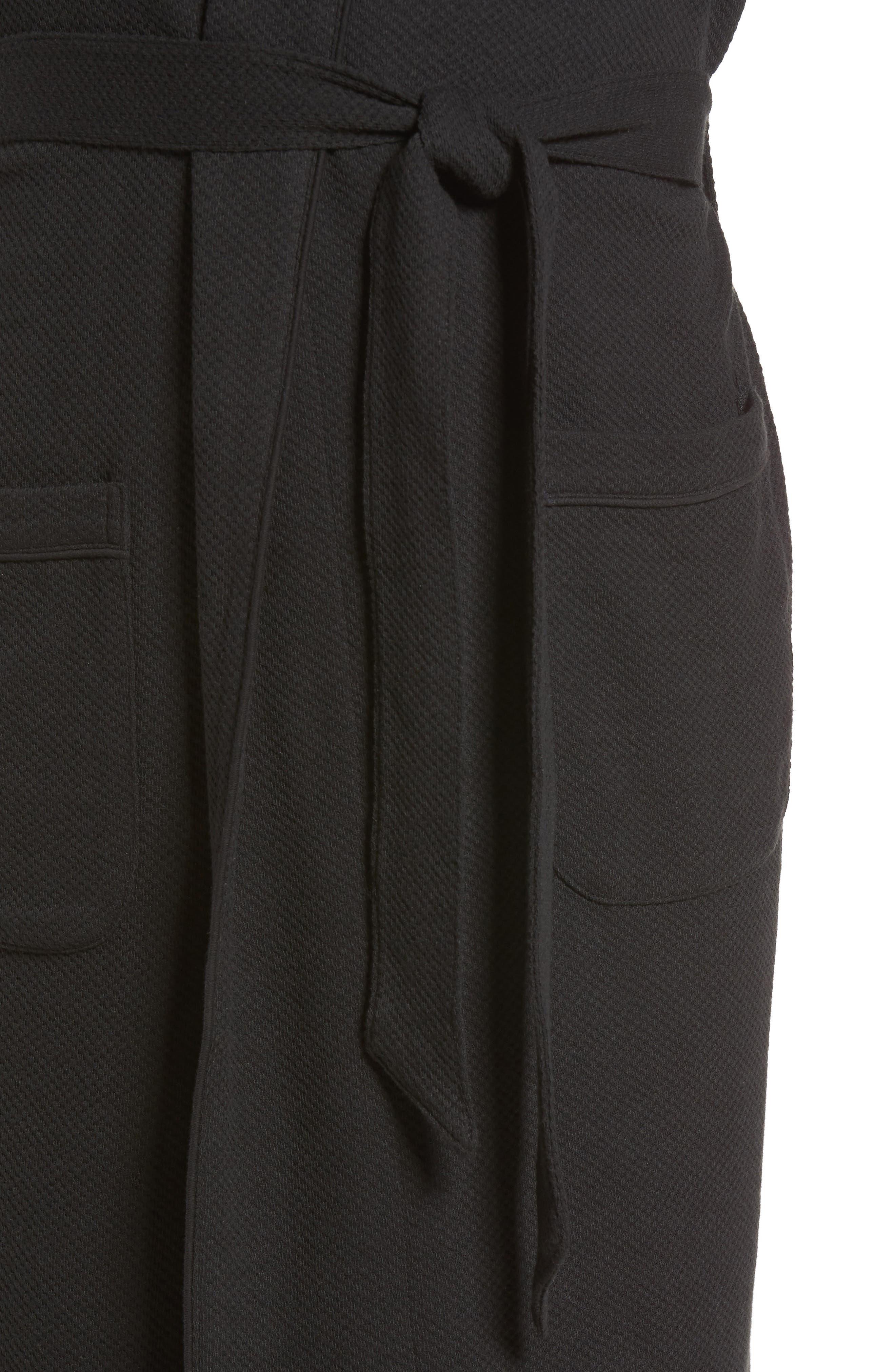NORDSTROM MEN'S SHOP, Thermal Robe, Alternate thumbnail 4, color, 001