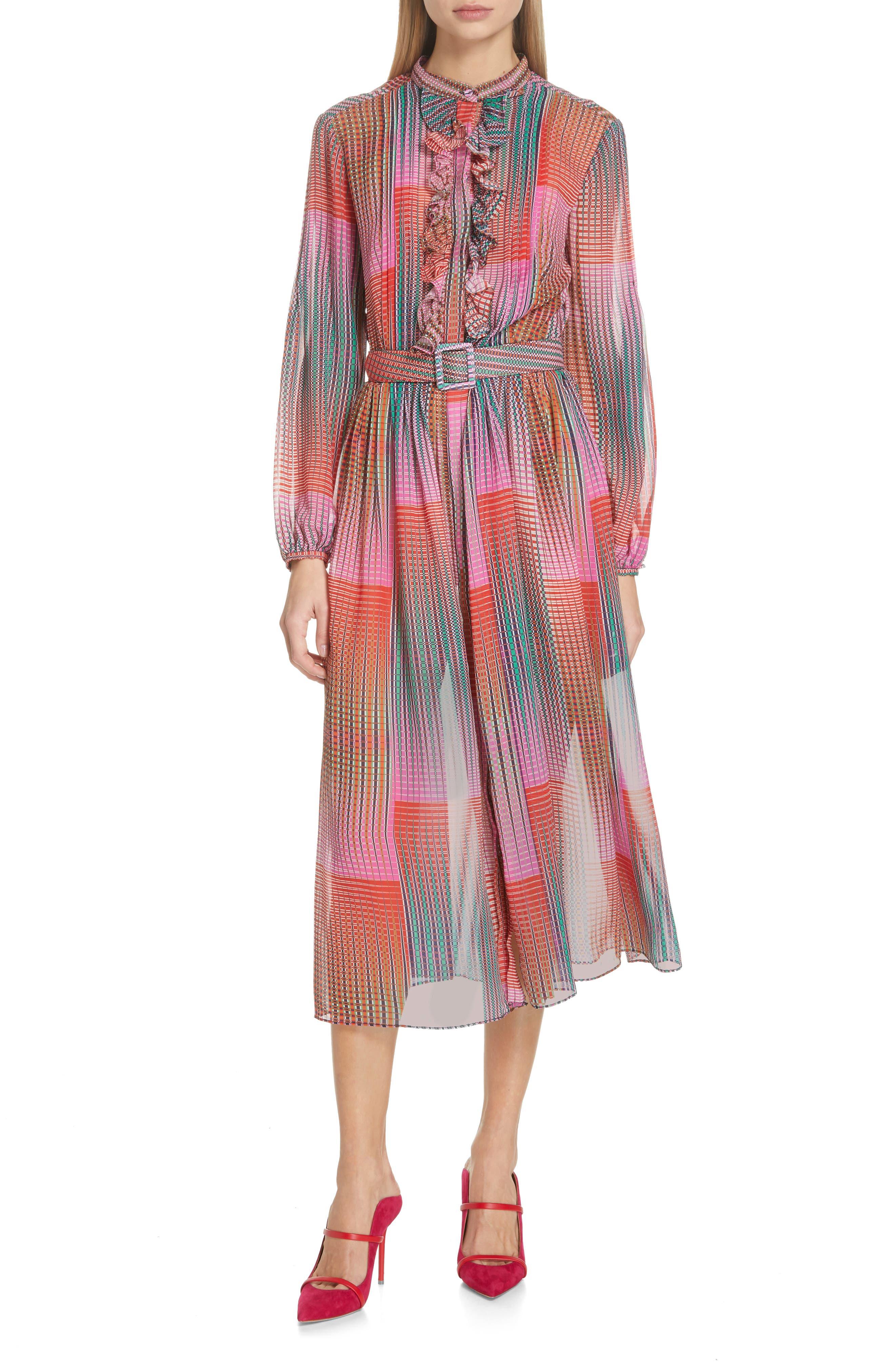 SALONI, Raquel Belted Silk Midi Dress, Main thumbnail 1, color, EMERALD ILLUSION