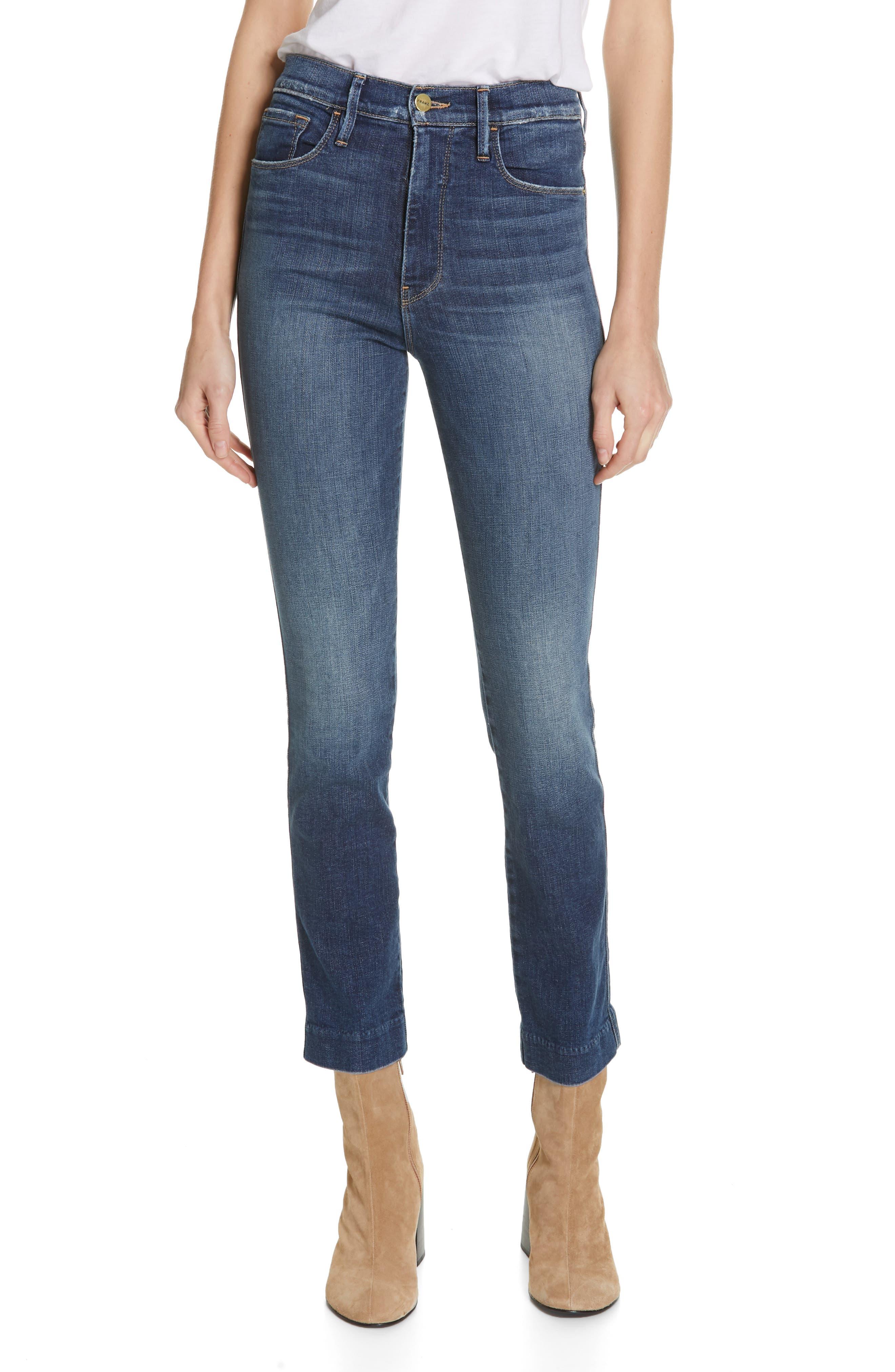 FRAME Le Sylvie Blind Stitch Straight Leg Jeans, Main, color, JOURNEY