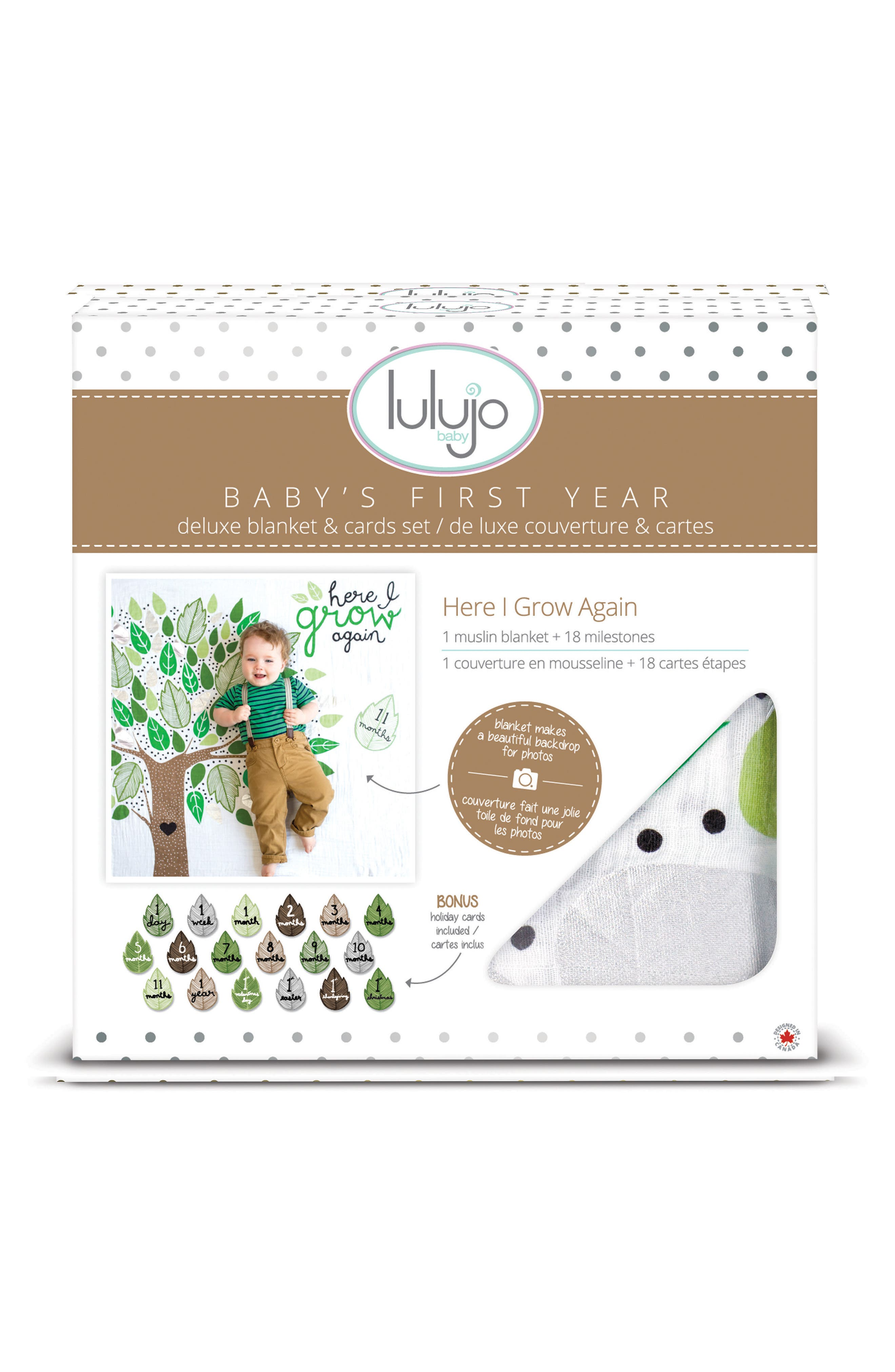 LULUJO Baby's First Year - Here I Grow Again Muslin Blanket & Milestone Card Set, Main, color, GREEN