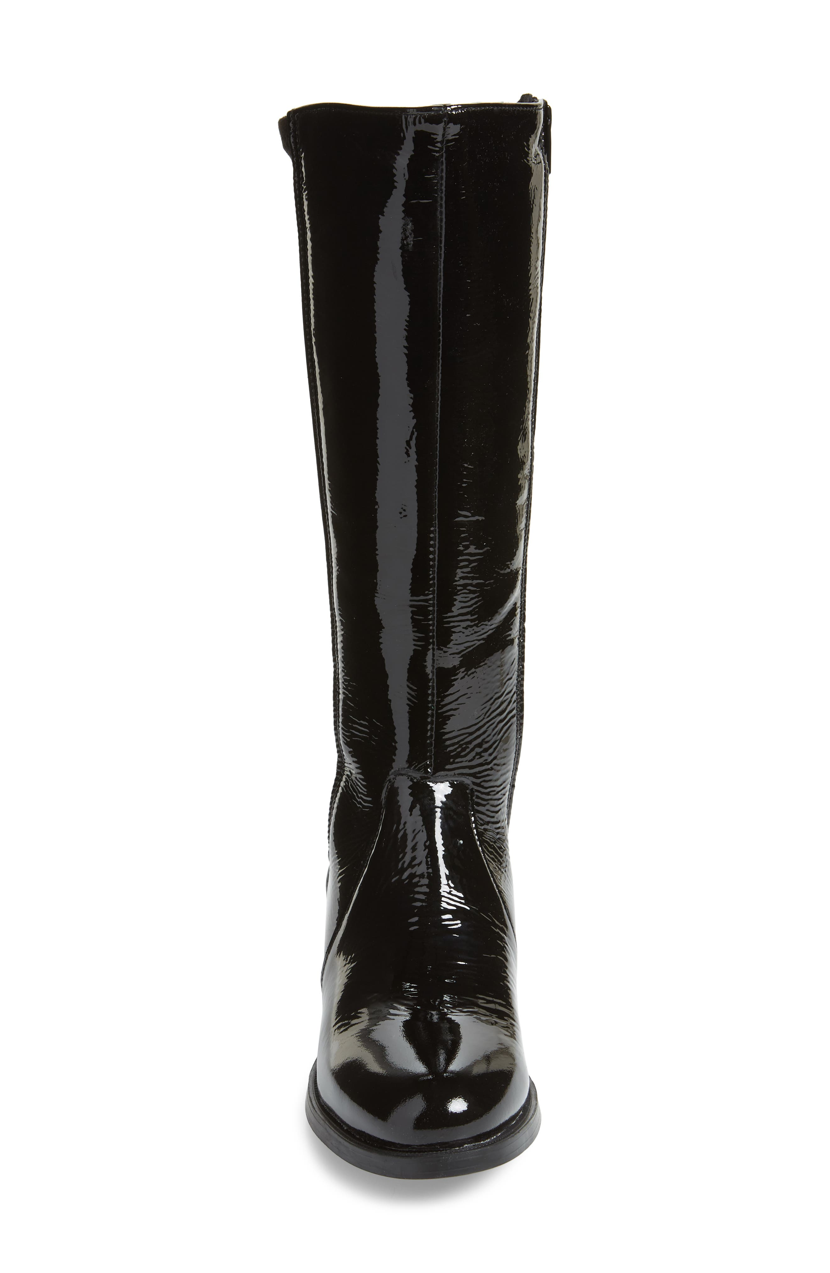 BOS. & CO., Brook Waterproof Knee High Boot, Alternate thumbnail 4, color, BLACK PATENT LEATHER