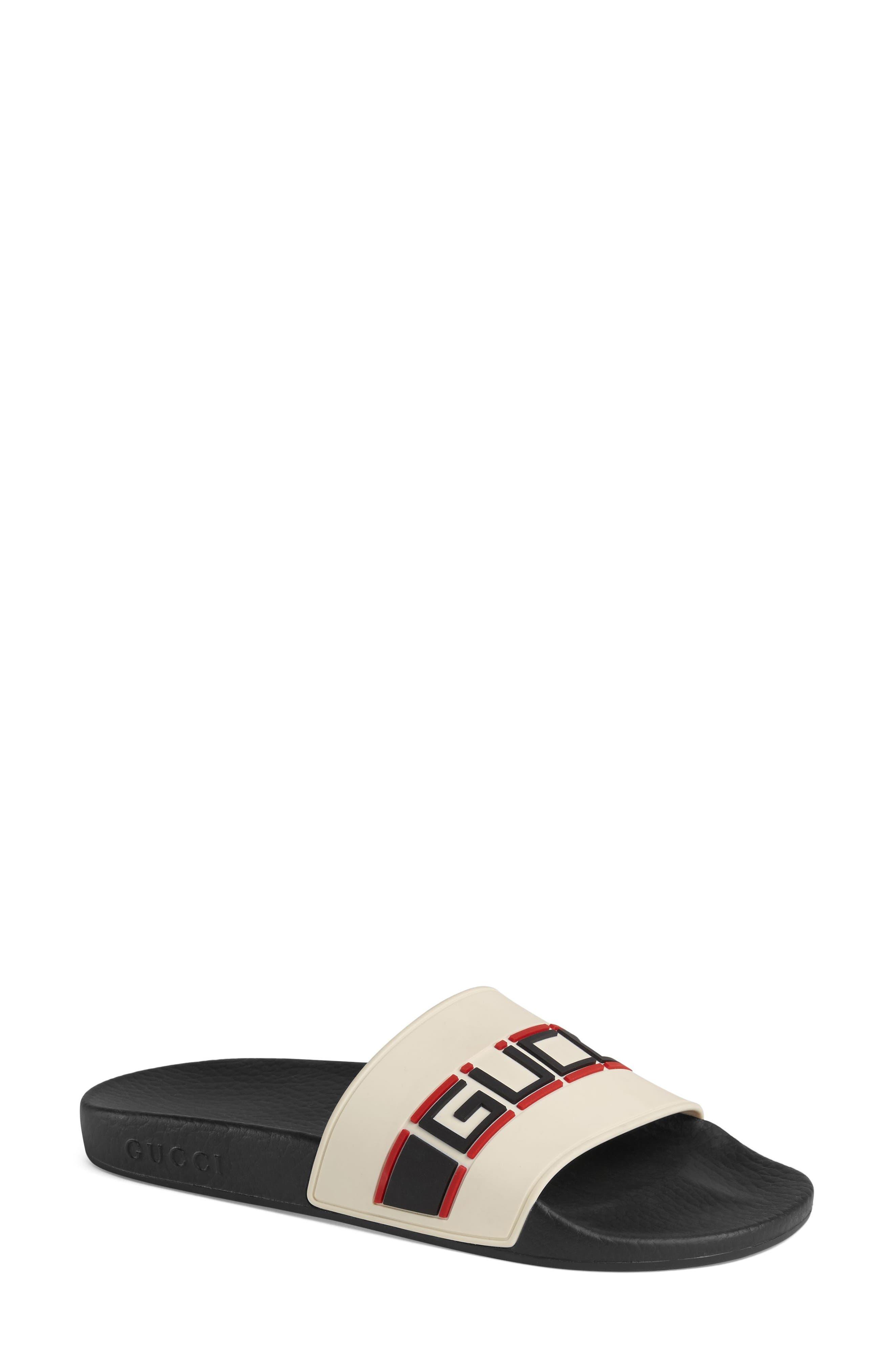 GUCCI Pursuit Logo Slide Sandal, Main, color, ECRU