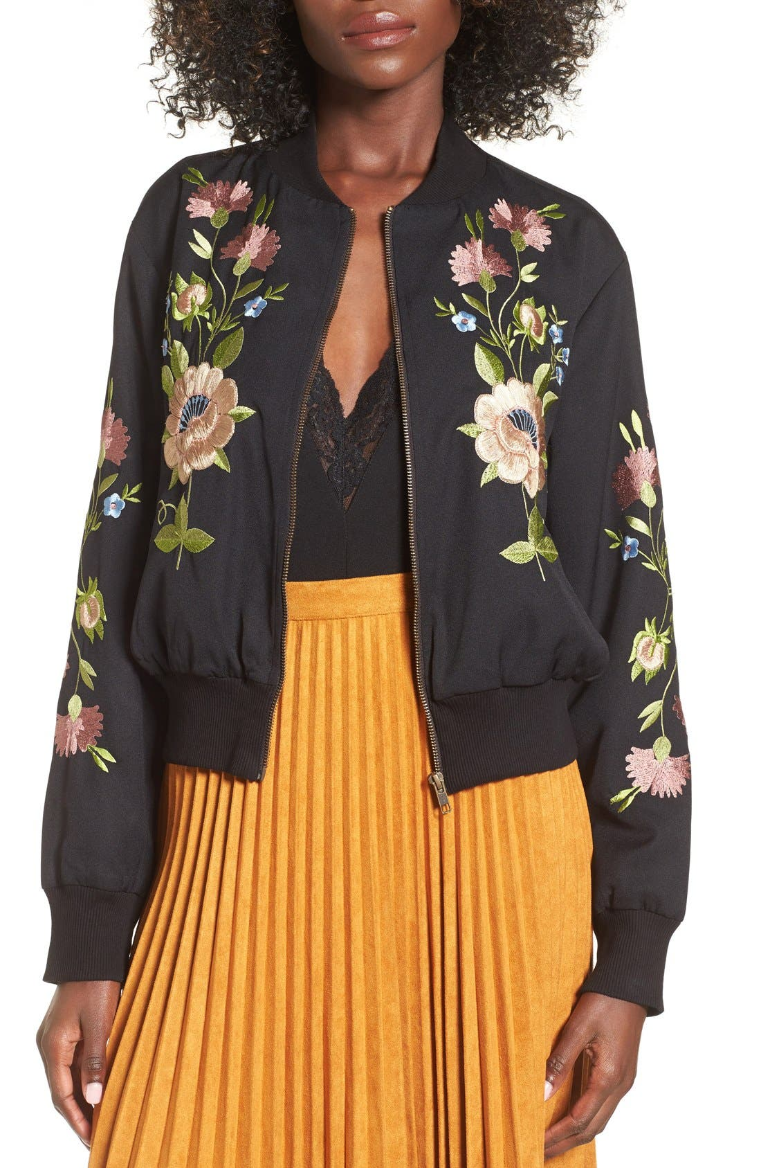 GLAMOROUS, Floral Embroidered Bomber Jacket, Main thumbnail 1, color, 001