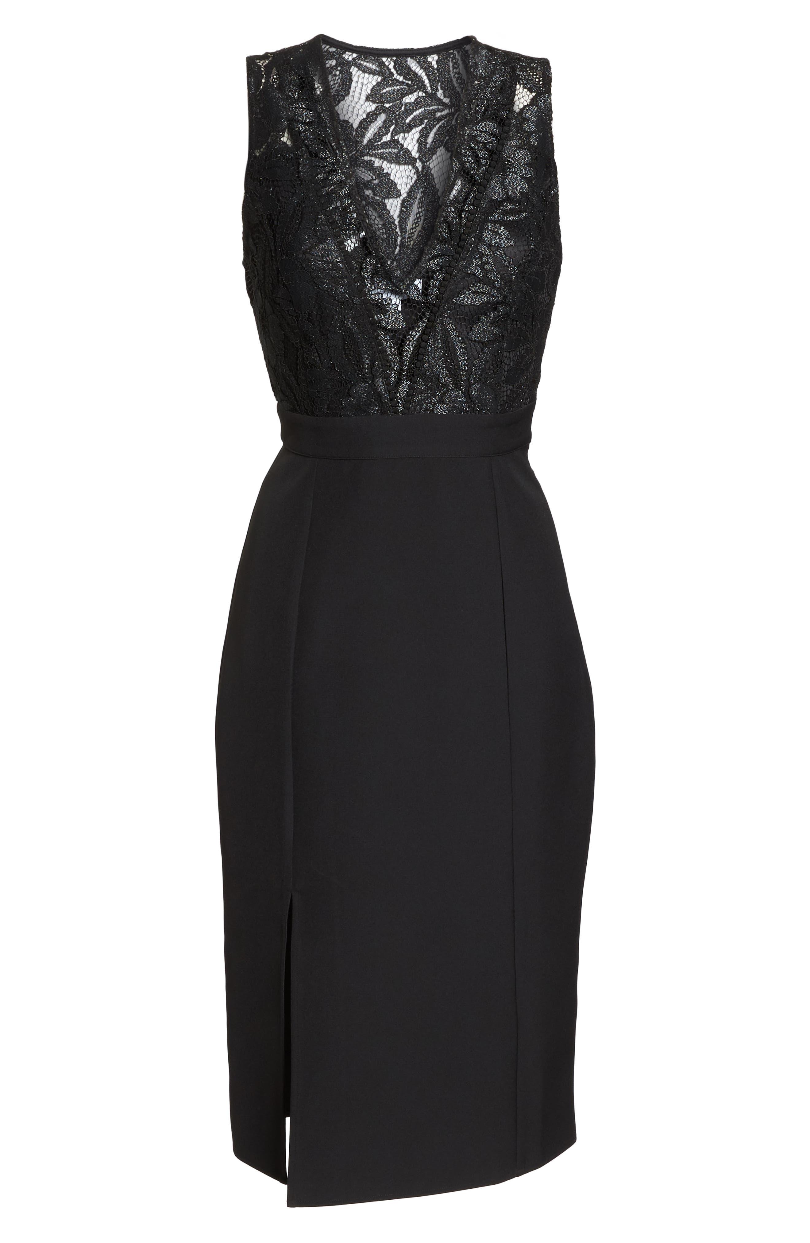 NSR, Kate V-Neck Lace Sheath Dress, Alternate thumbnail 7, color, 001