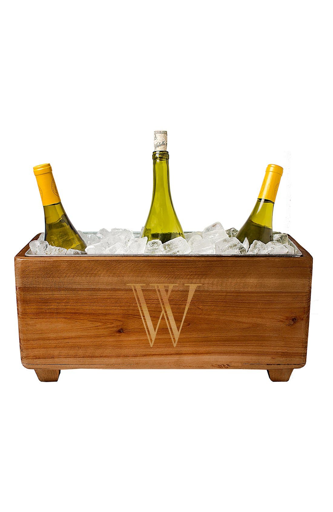 CATHY'S CONCEPTS, Monogram Wood Wine Trough, Alternate thumbnail 3, color, BLANK