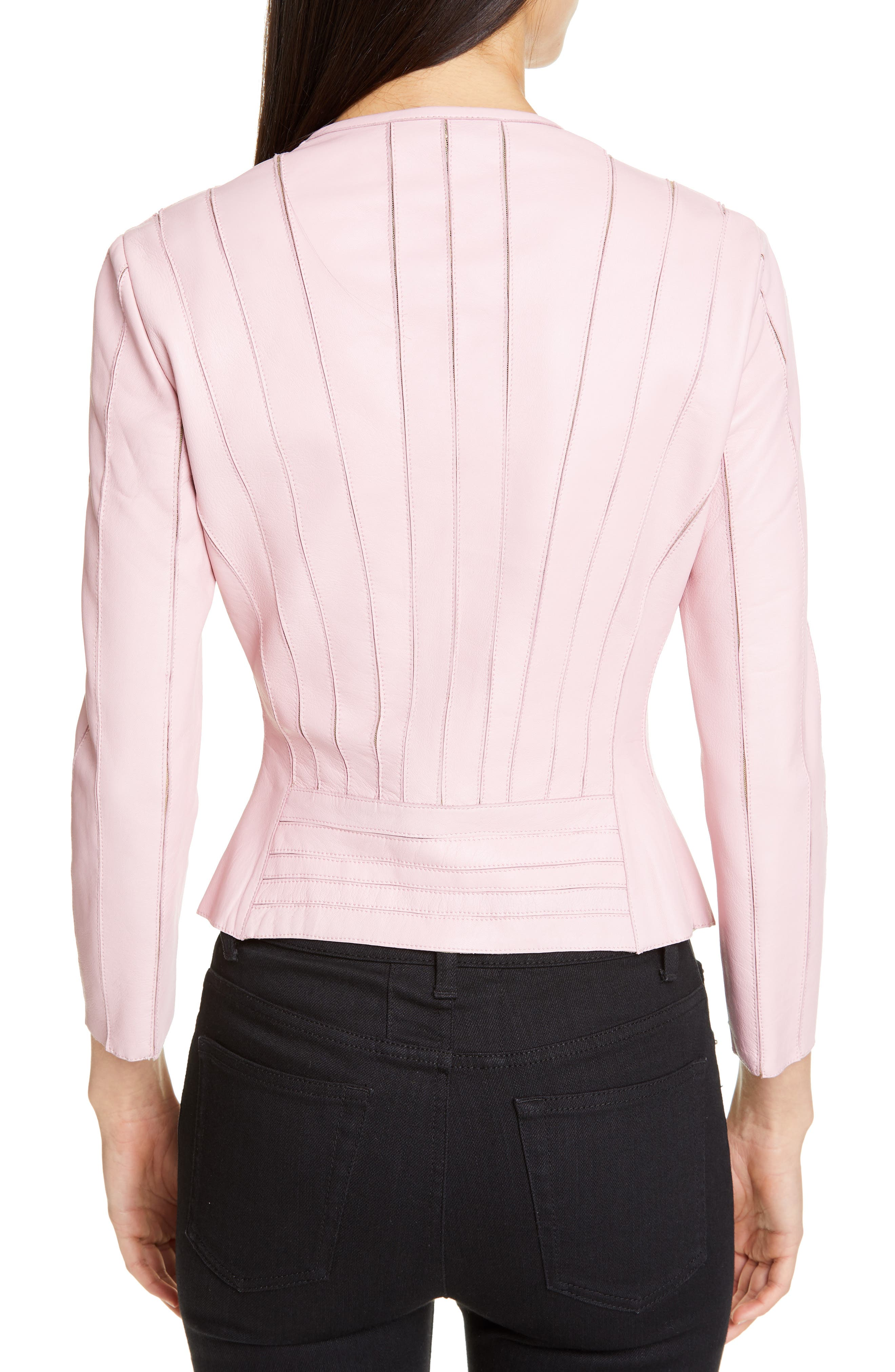 VERSACE COLLECTION, Mesh Rib Leather Jacket, Alternate thumbnail 2, color, PASTEL ROSE