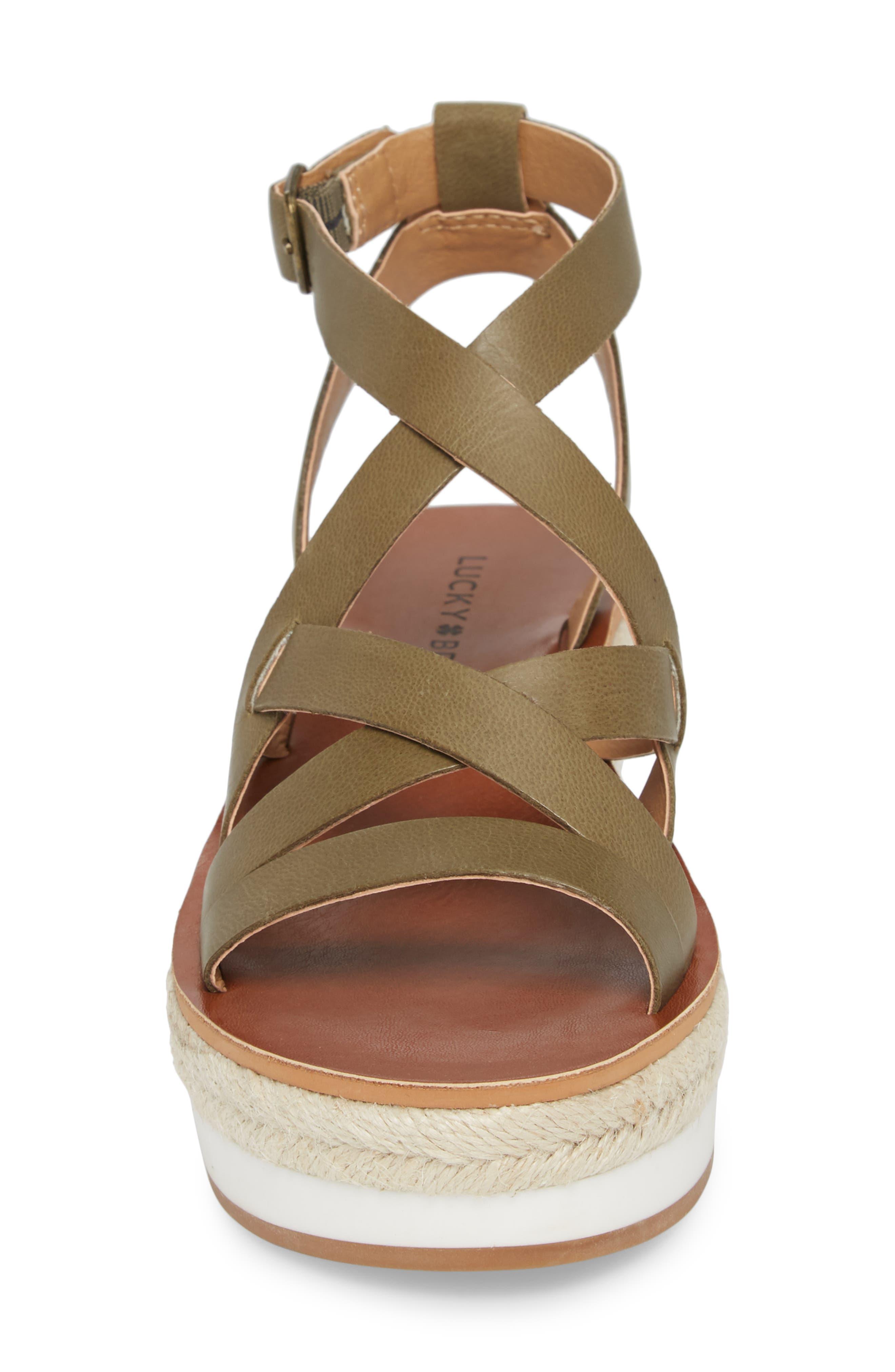LUCKY BRAND, Jenepper Platform Wedge Sandal, Alternate thumbnail 4, color, DRAB LEATHER