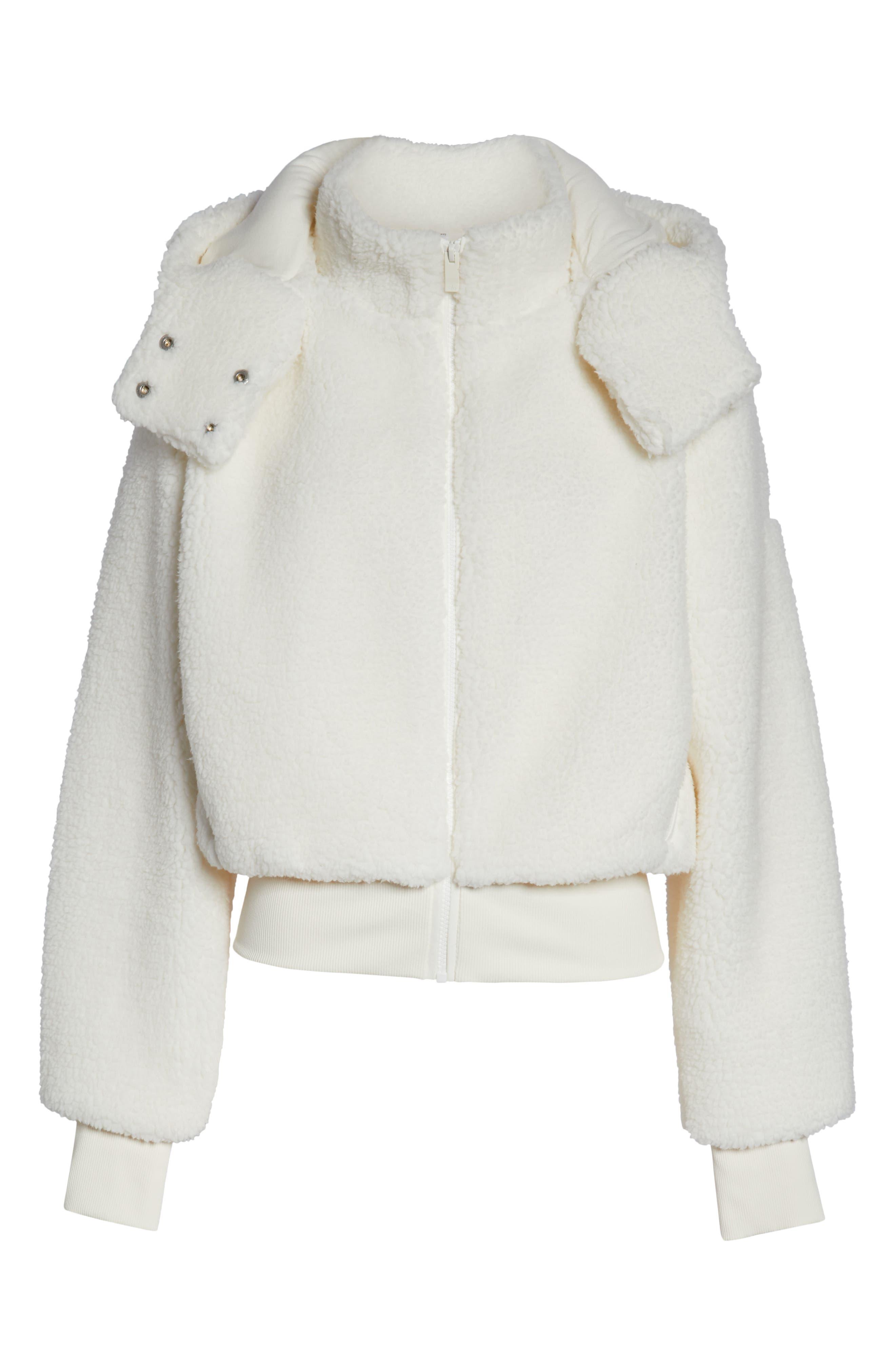 ALO, Foxy Faux Fur Jacket, Alternate thumbnail 7, color, PRISTINE