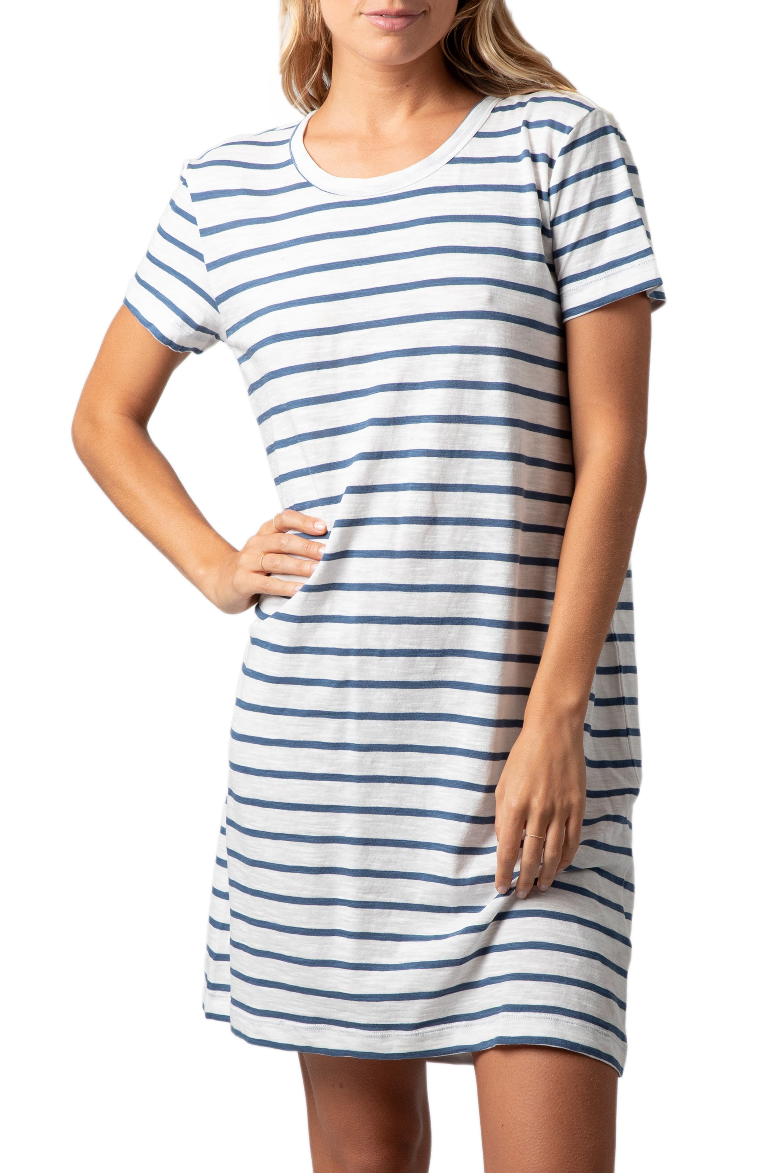 RIP CURL, Surf Essentials T-Shirt Dress, Main thumbnail 1, color, VANILLA