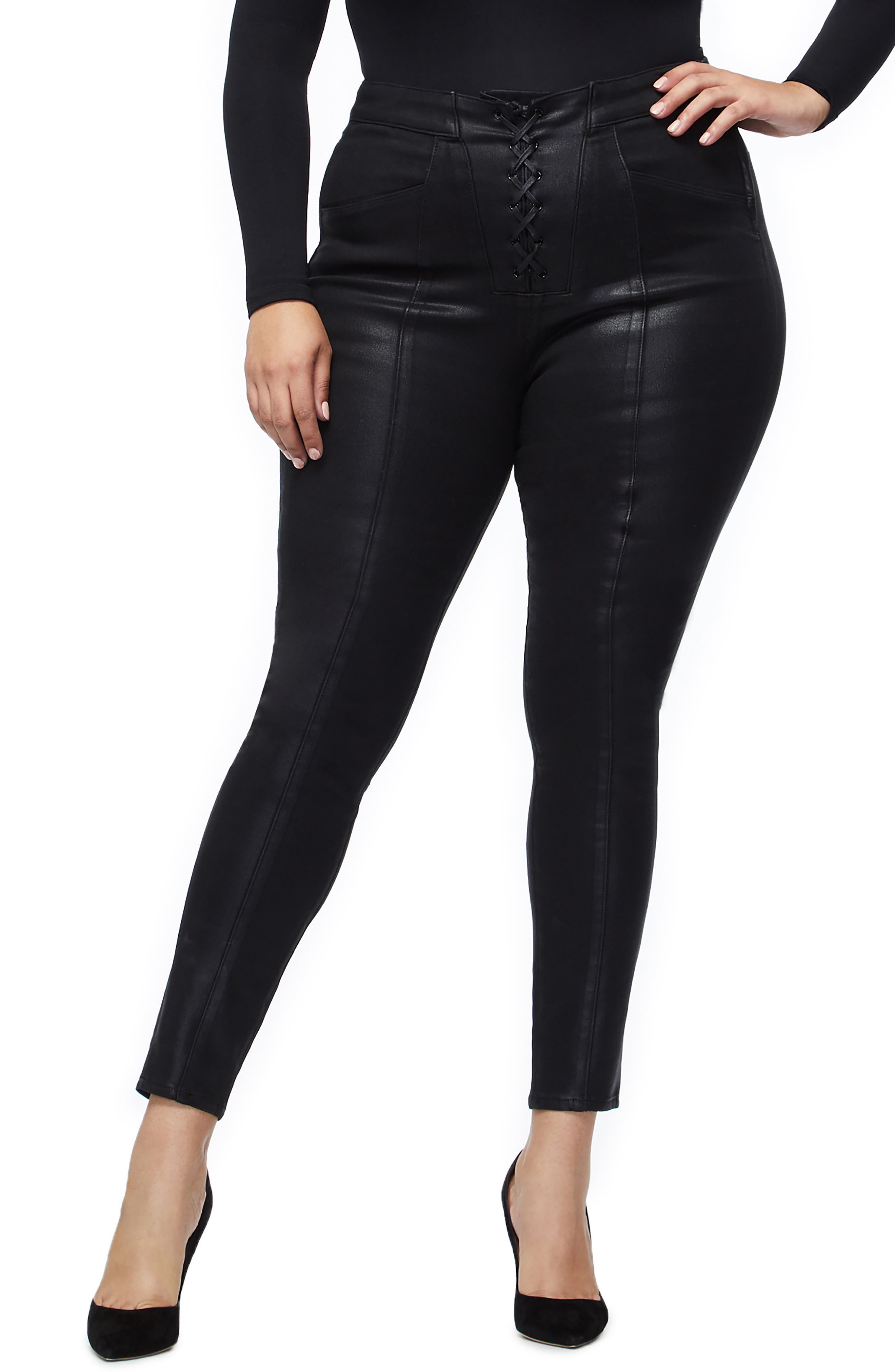 GOOD AMERICAN, Coated Lace-Up High Waist Skinny Jeans, Alternate thumbnail 2, color, BLACK034