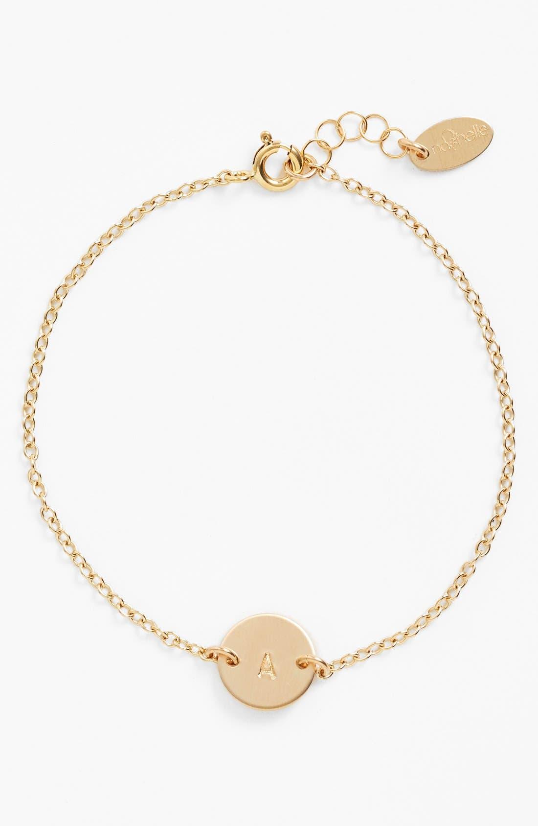 NASHELLE, Initial Mini Disc Bracelet, Main thumbnail 1, color, 14K GOLD FILL A