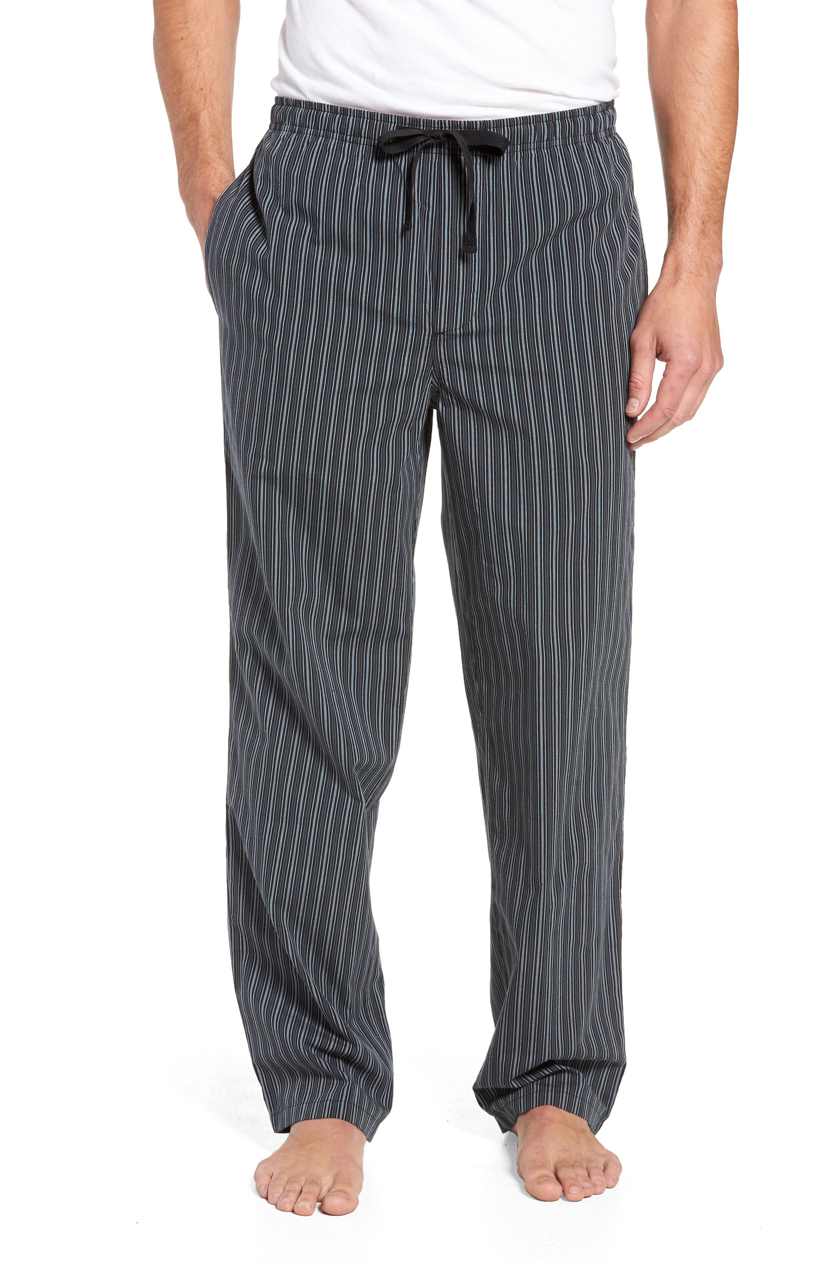 NORDSTROM MEN'S SHOP, Poplin Pajama Pants, Main thumbnail 1, color, GREY- BLACK STRIPE