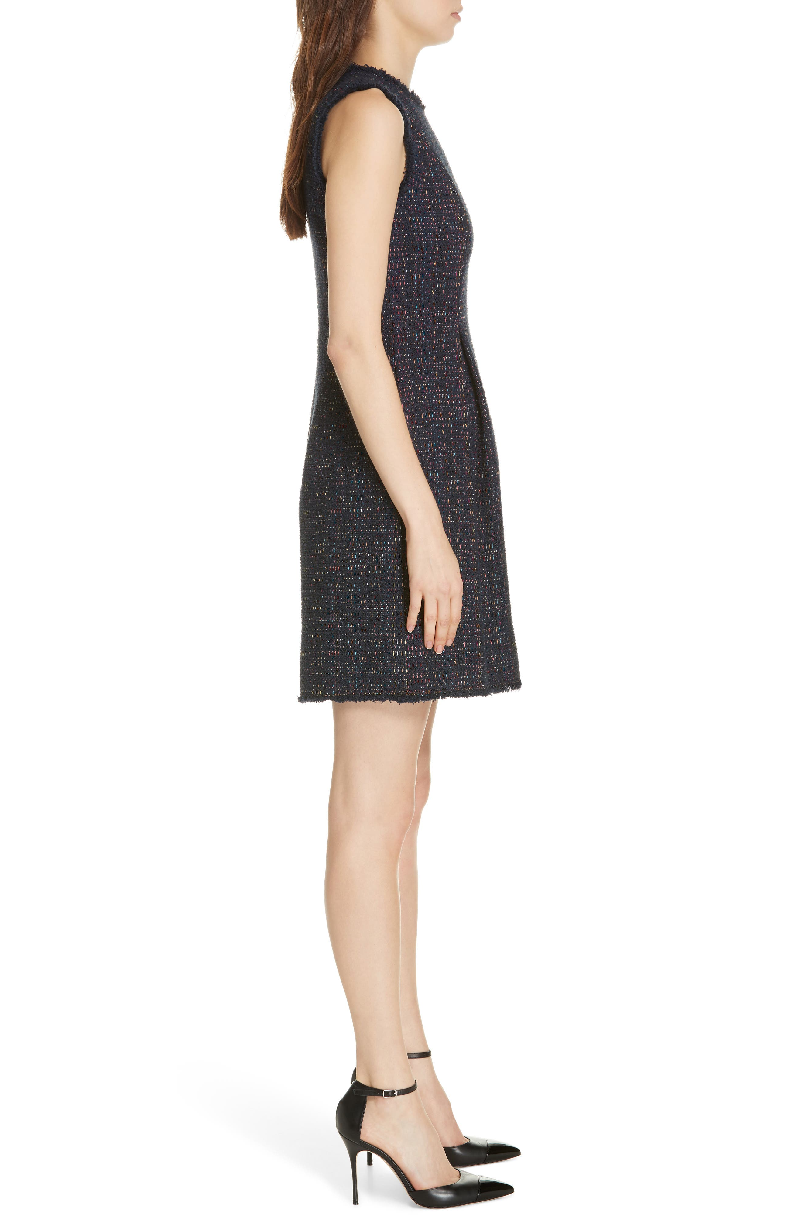 REBECCA TAYLOR, Rainbow Tweed Fit & Flare Dress, Alternate thumbnail 4, color, NAVY