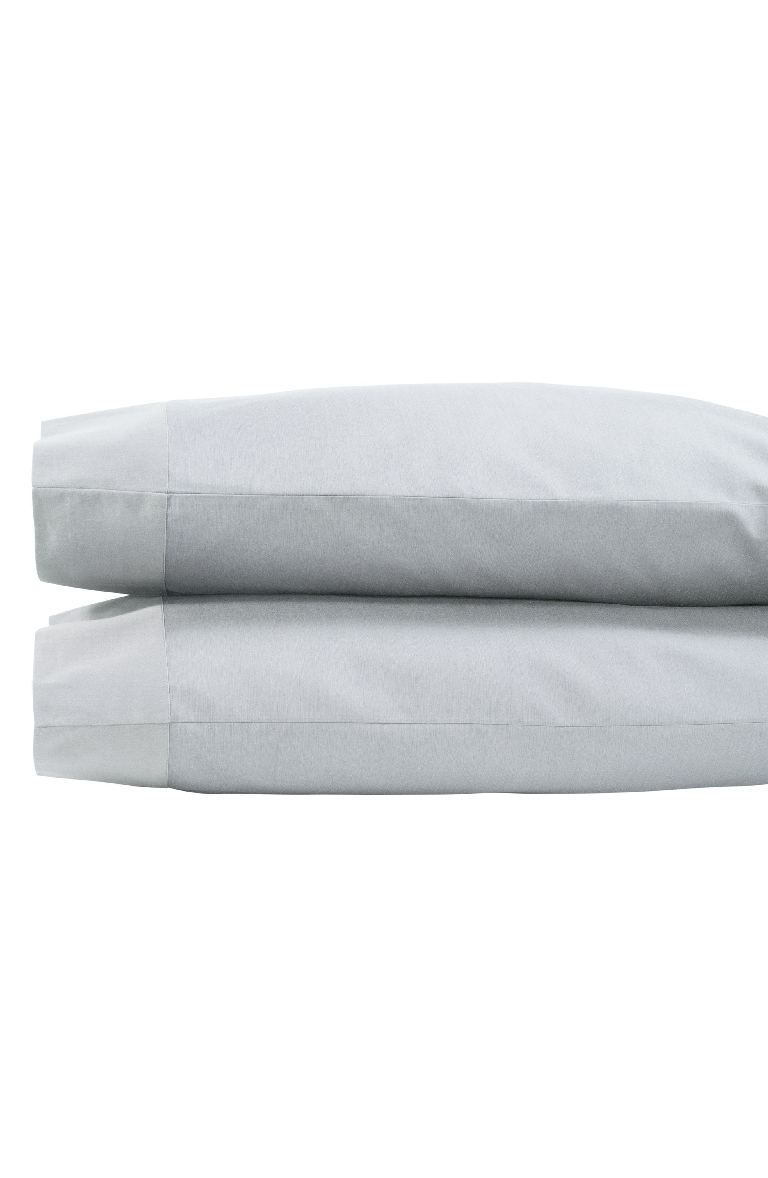 MICHAEL ARAM Striated Band 400 Thread Count Pillowcases, Main, color, GRAY