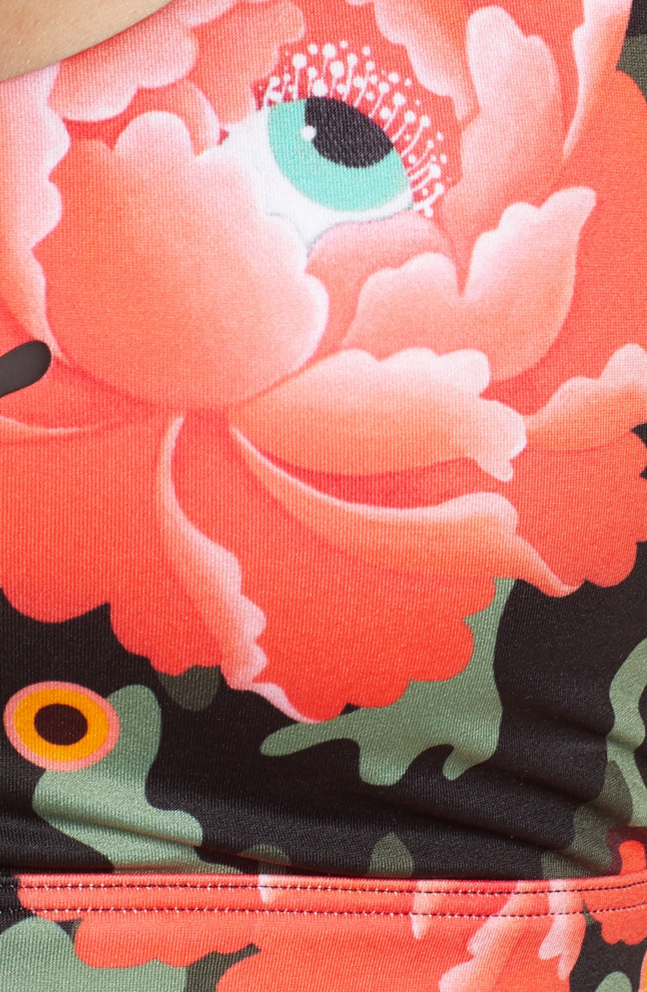 PUMA, x Sue Tsai Floral Bralette, Alternate thumbnail 6, color, BLACK-PEONY