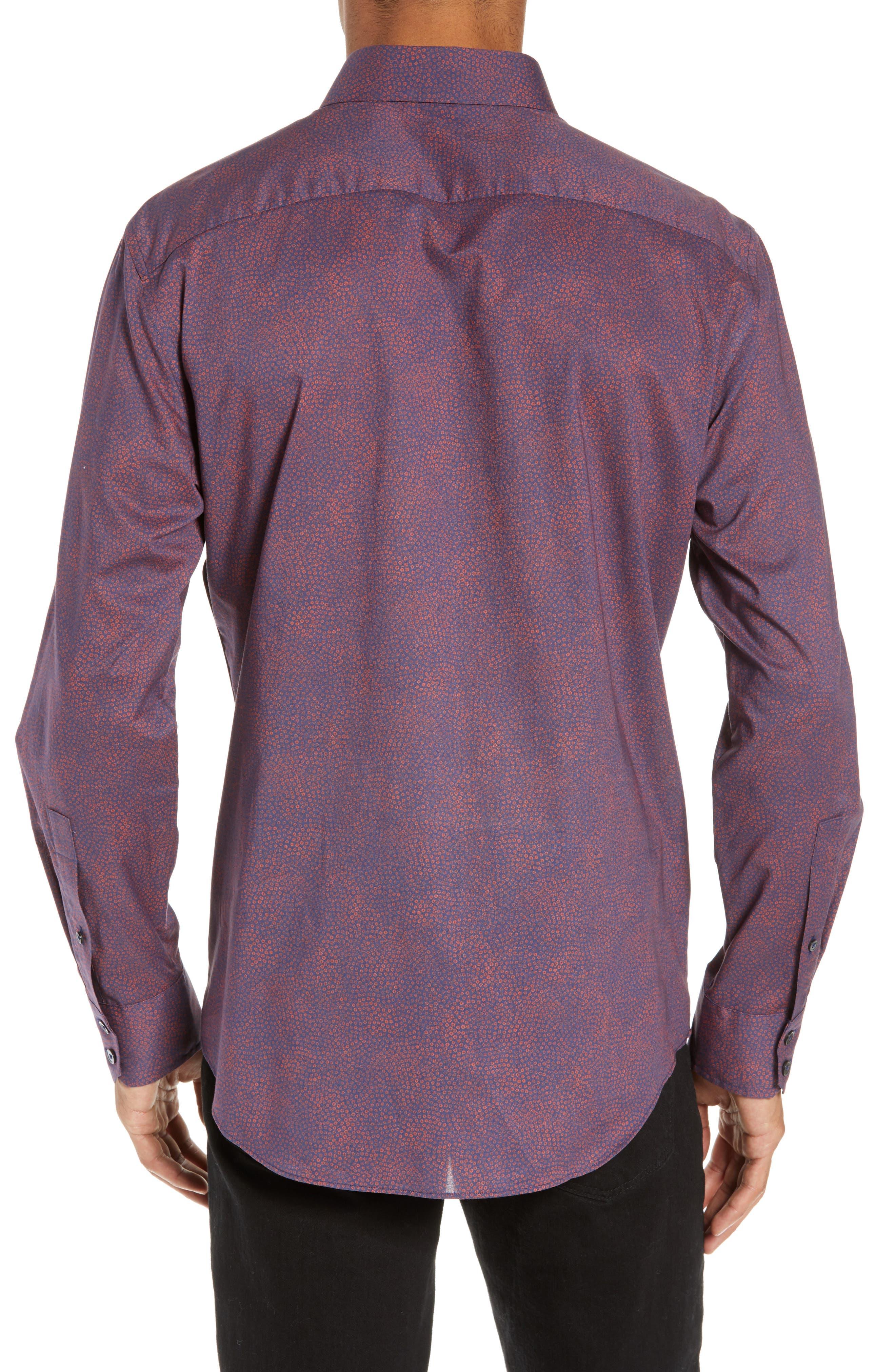 ZACHARY PRELL, Maryna Regular Fit Floral Print Sport Shirt, Alternate thumbnail 3, color, ORANGE