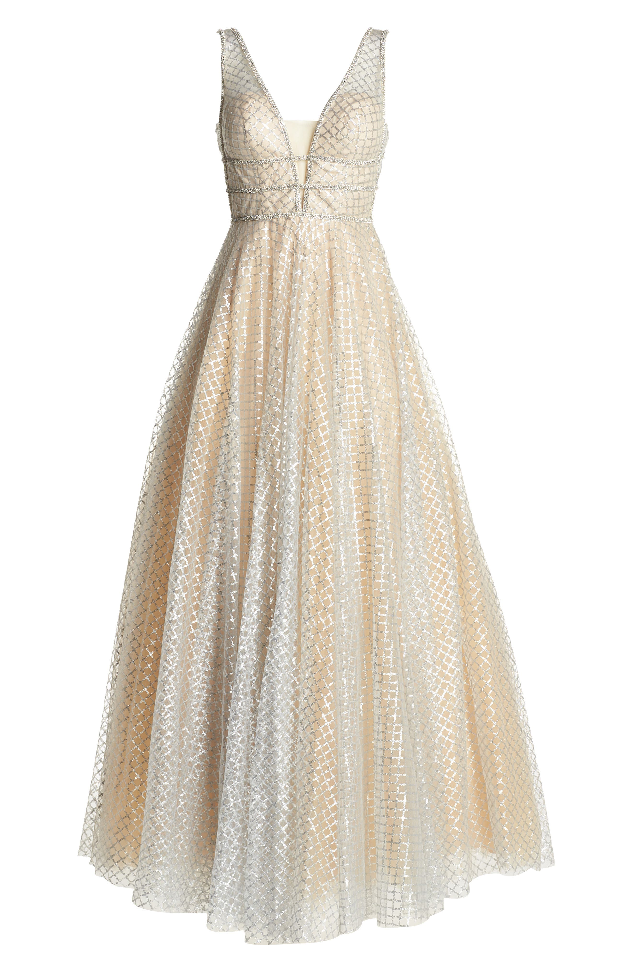 MAC DUGGAL, Sequin Illusion Neck Gown, Alternate thumbnail 7, color, NUDE/ SILVER
