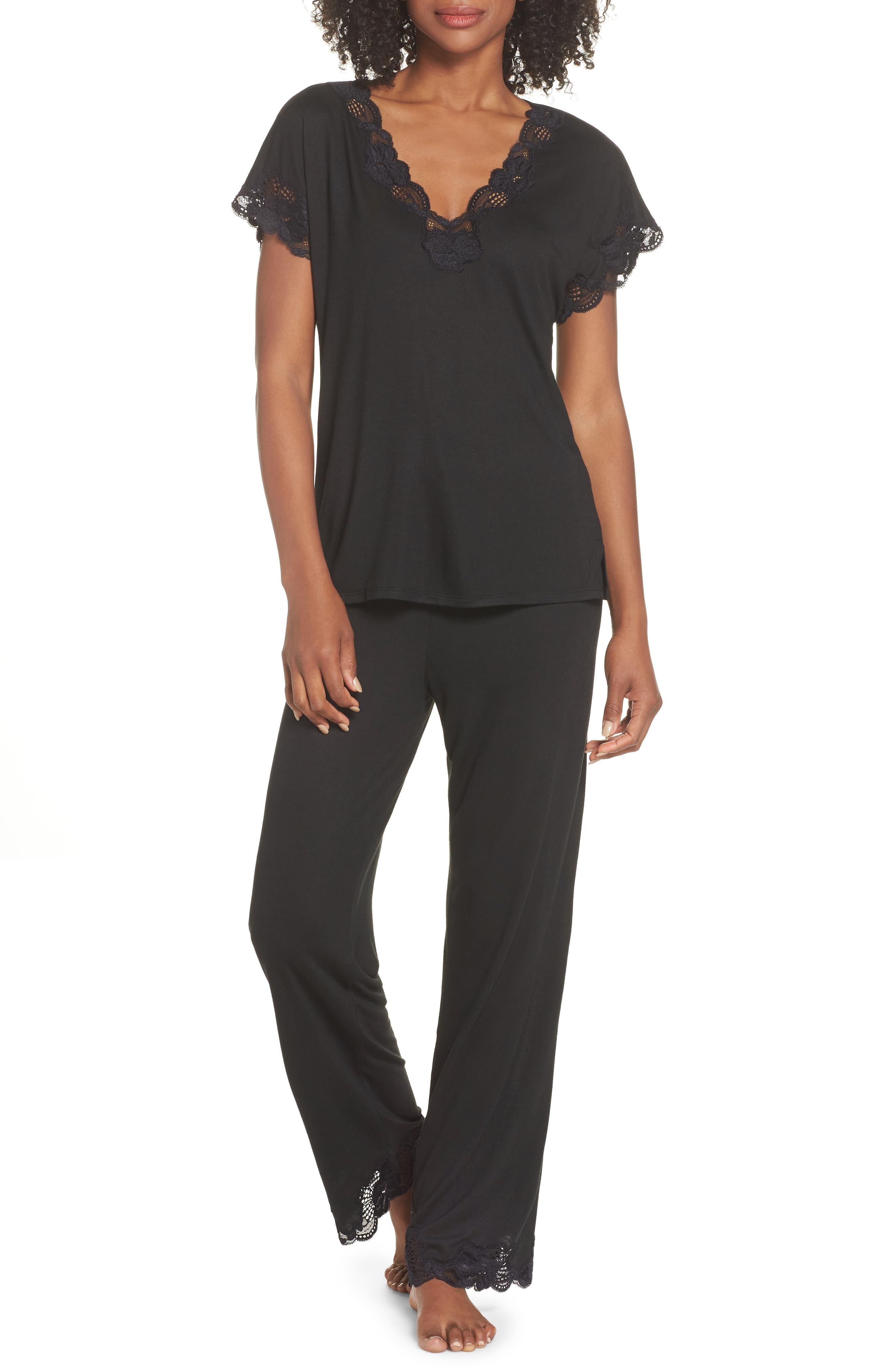 NATORI, 'Zen Floral' Pajama Set, Alternate thumbnail 5, color, BLACK
