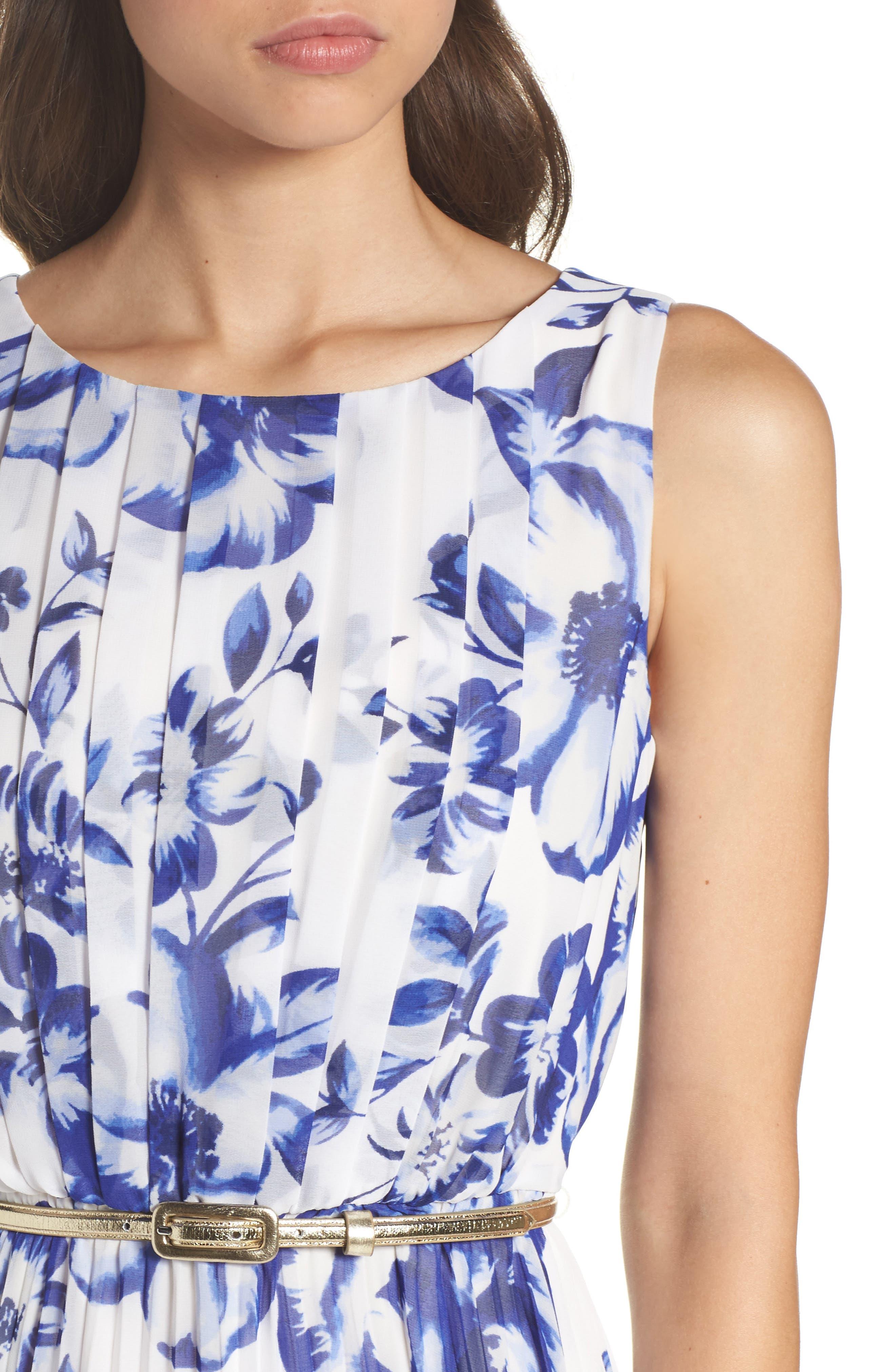 ELIZA J, Pleated Floral Chiffon Maxi Dress, Alternate thumbnail 5, color, COBALT