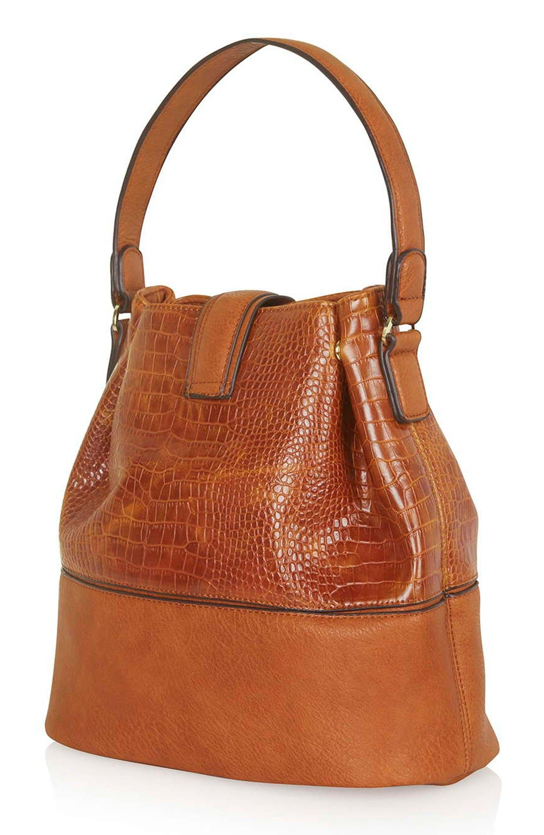 TOPSHOP, Embossed Faux Leather Bucket Bag, Alternate thumbnail 5, color, 210