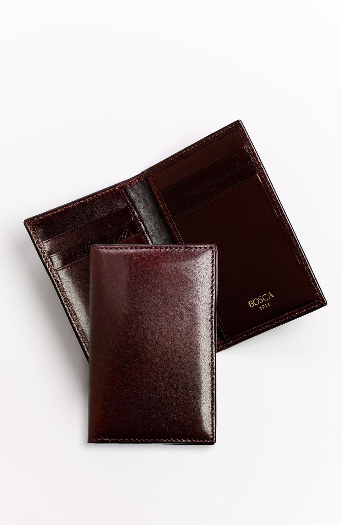 BOSCA, 'Old Leather' Card Case, Alternate thumbnail 4, color, DARK BROWN