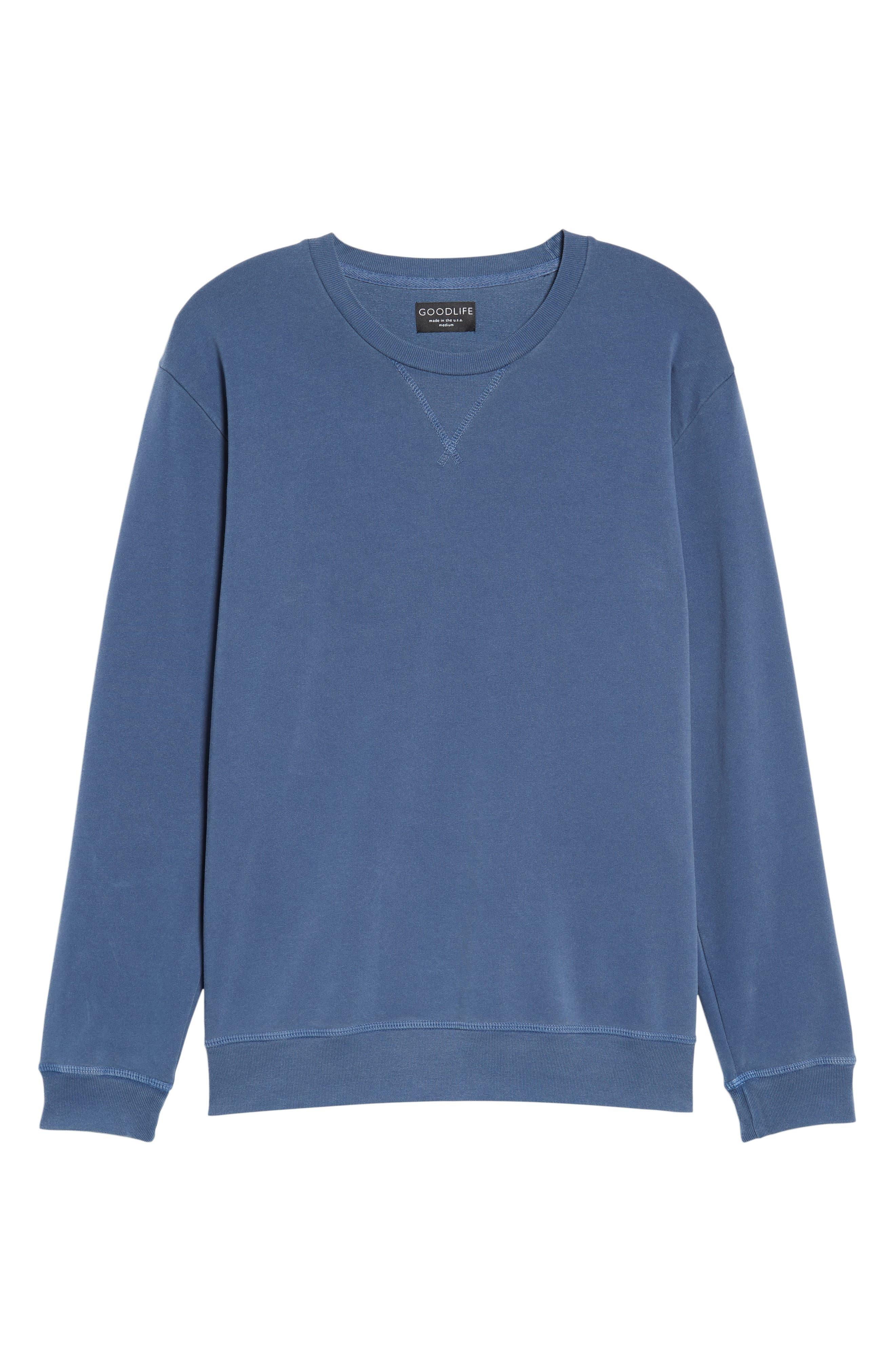 GOODLIFE, Slim Fit Crewneck Sweatshirt, Alternate thumbnail 6, color, FADED NAVY