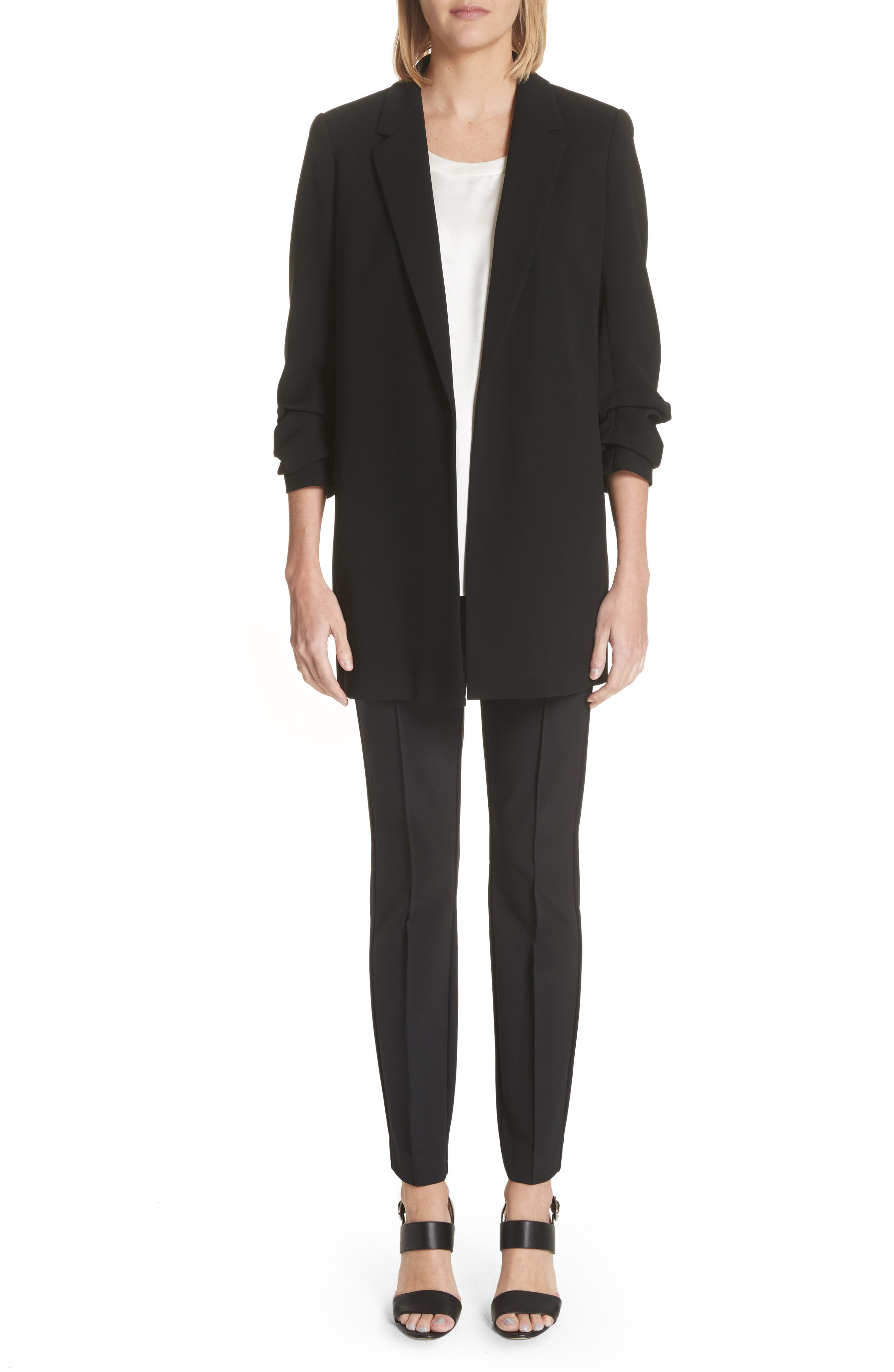 LAFAYETTE 148 NEW YORK, 'Gramercy' Acclaimed Stretch Pants, Alternate thumbnail 4, color, BLACK