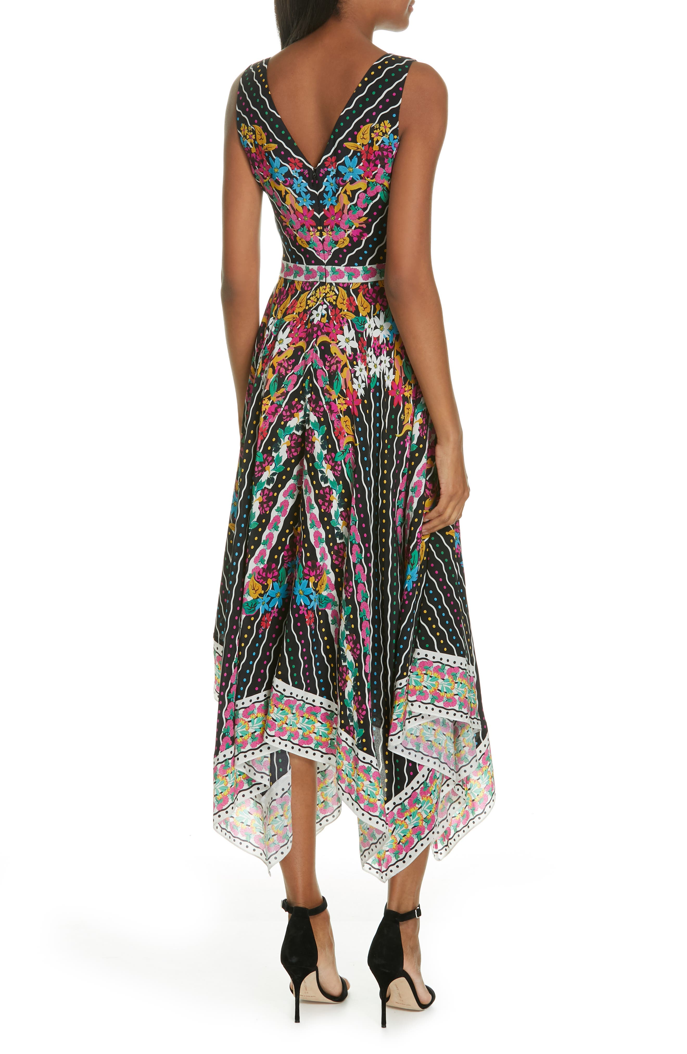SALONI, Zuri Floral Print Dress, Alternate thumbnail 2, color, 001