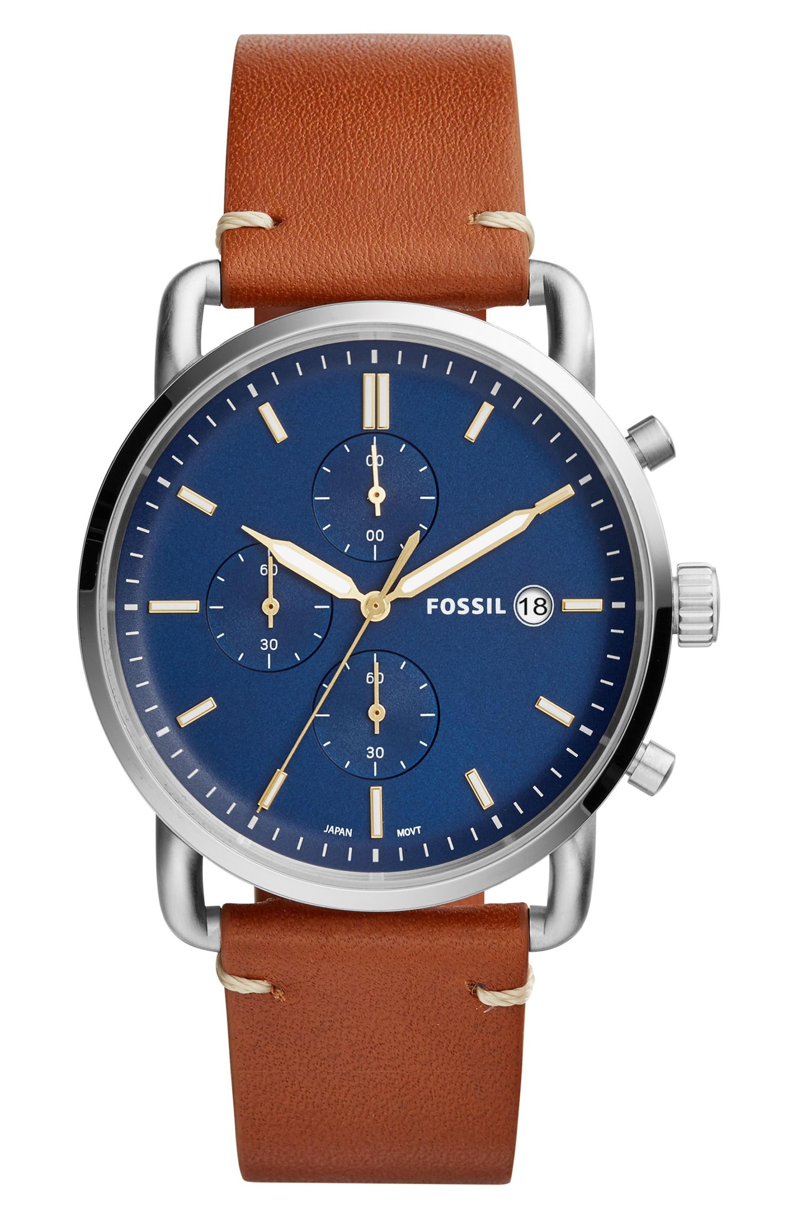 FOSSIL, The Commuter Chronograph Leather Strap Watch, 42mm, Main thumbnail 1, color, BROWN/ BLUE/ SILVER