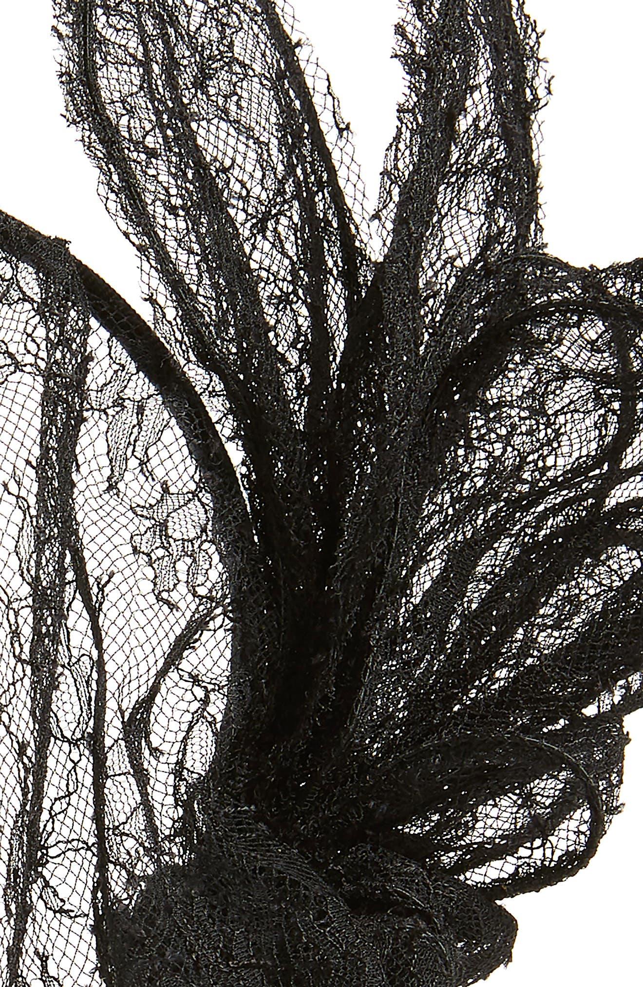 MAISON MICHEL, Clémentine Lace Veil Headband, Alternate thumbnail 2, color, BLACK