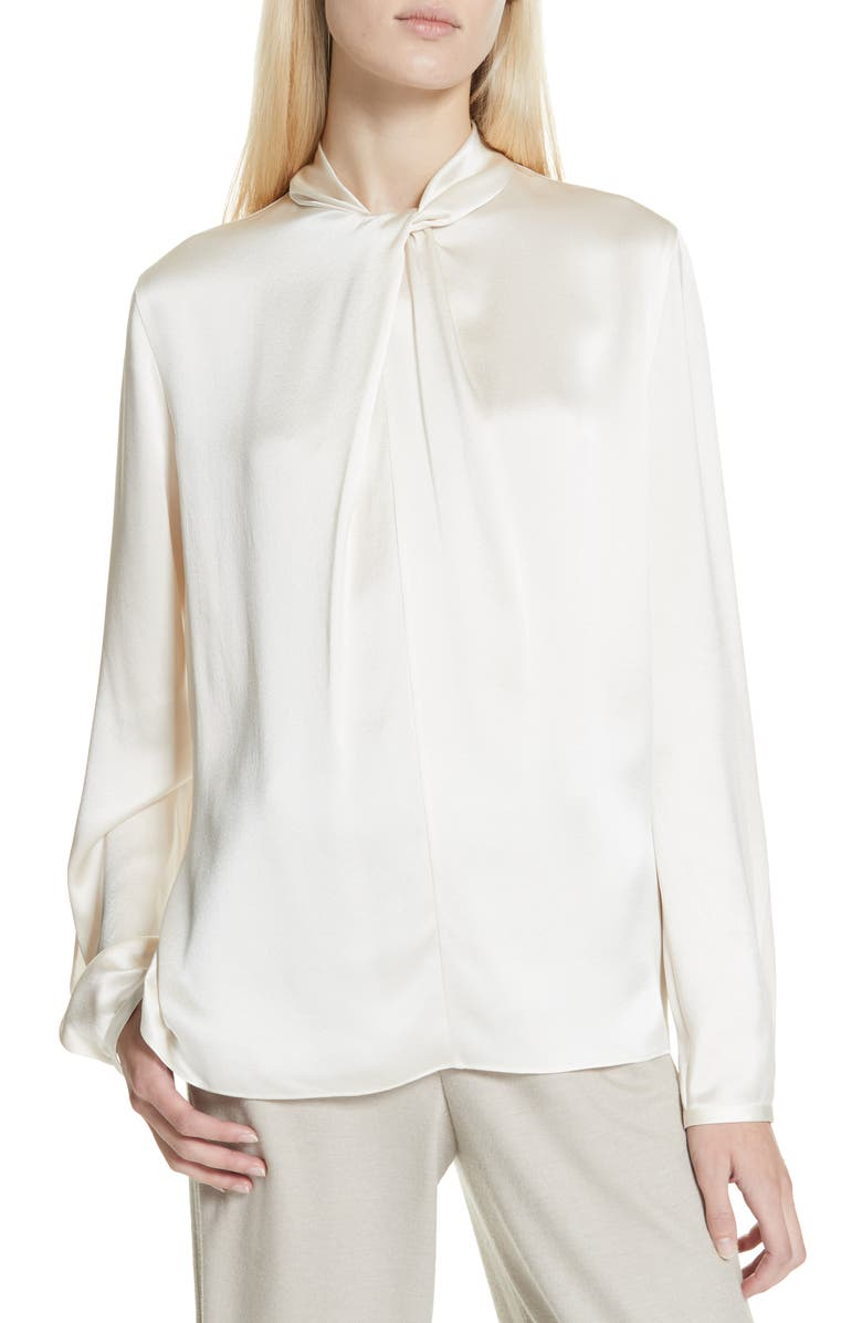 23c11b0772bb4 Vince Neck Knot Silk Blouse
