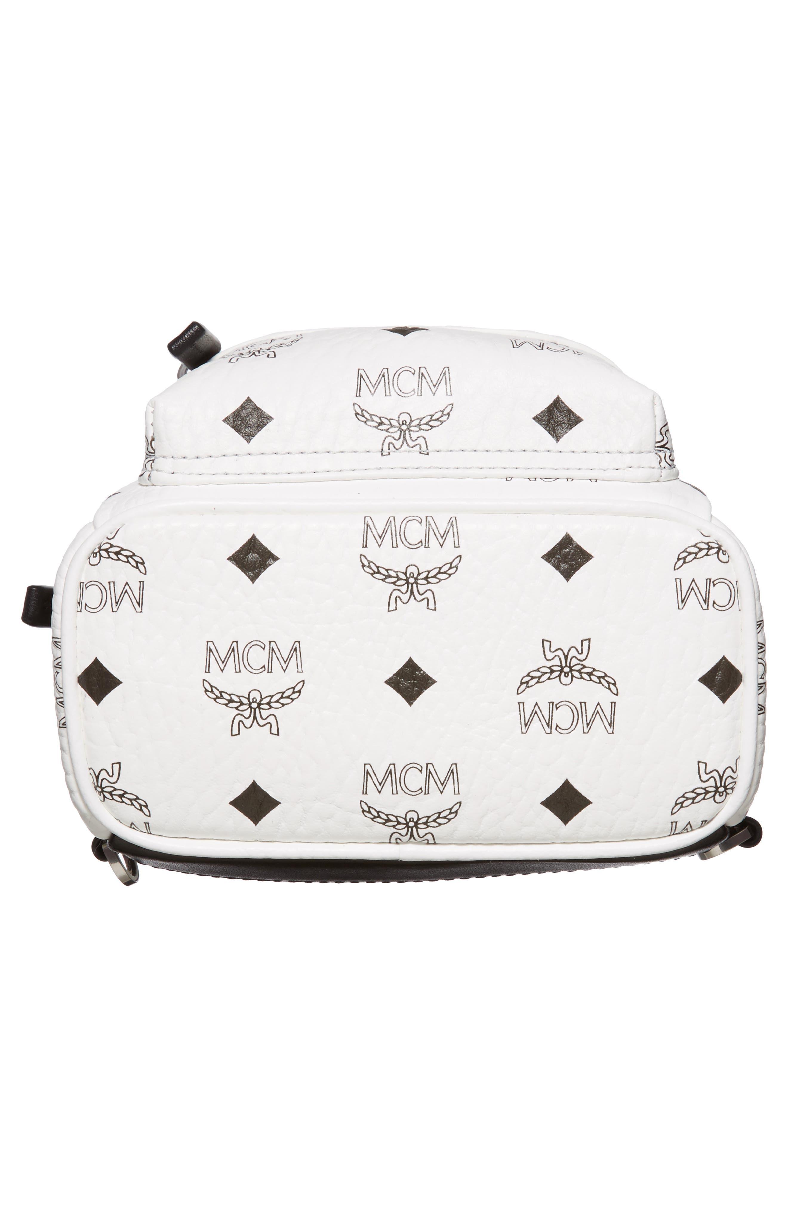 MCM, 'X-Mini Stark Side Stud' Convertible Backpack, Alternate thumbnail 4, color, WHITE