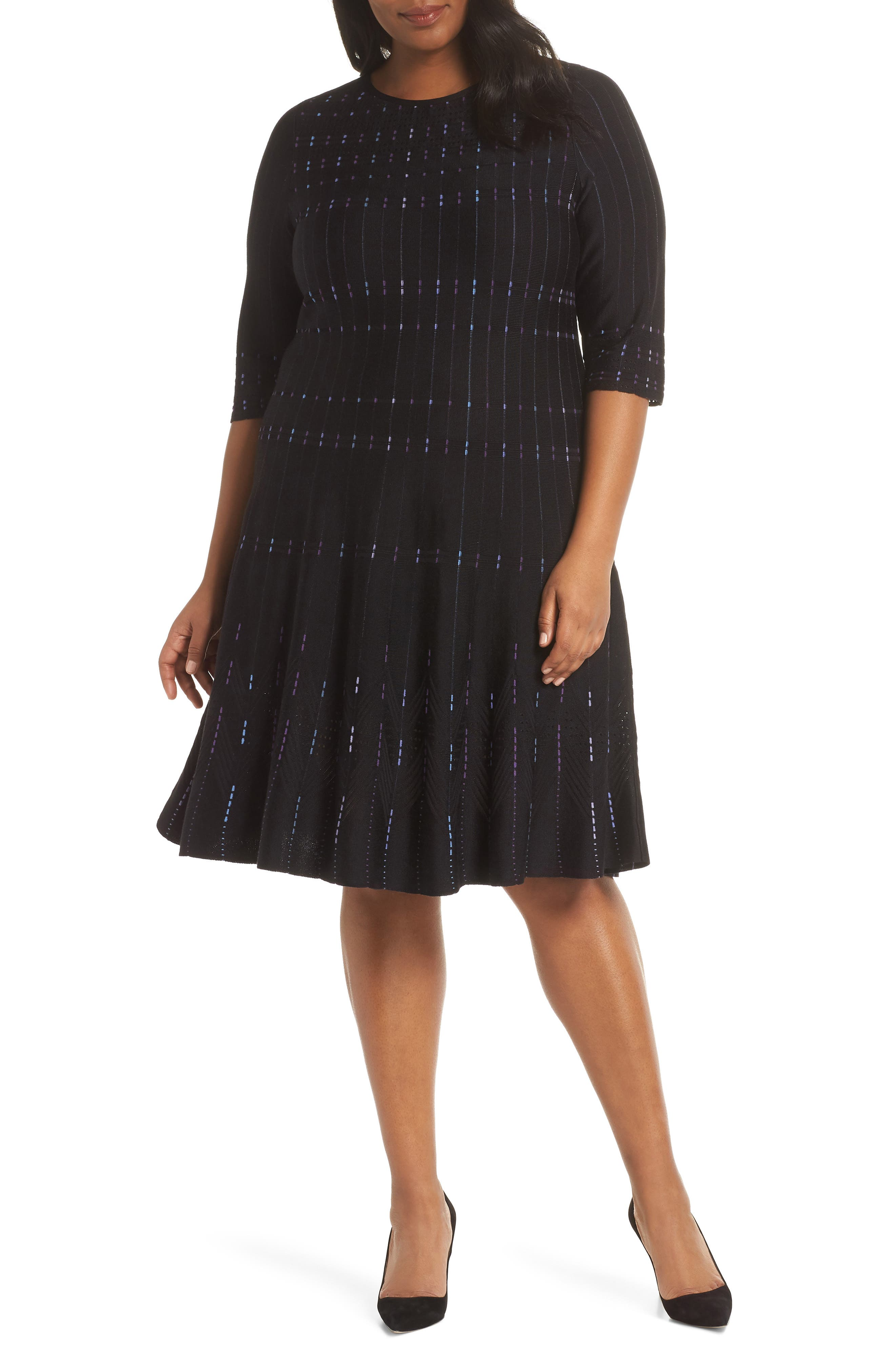 Plus Size Nic+Zoe Flashing Lights Sweater Dress, Black