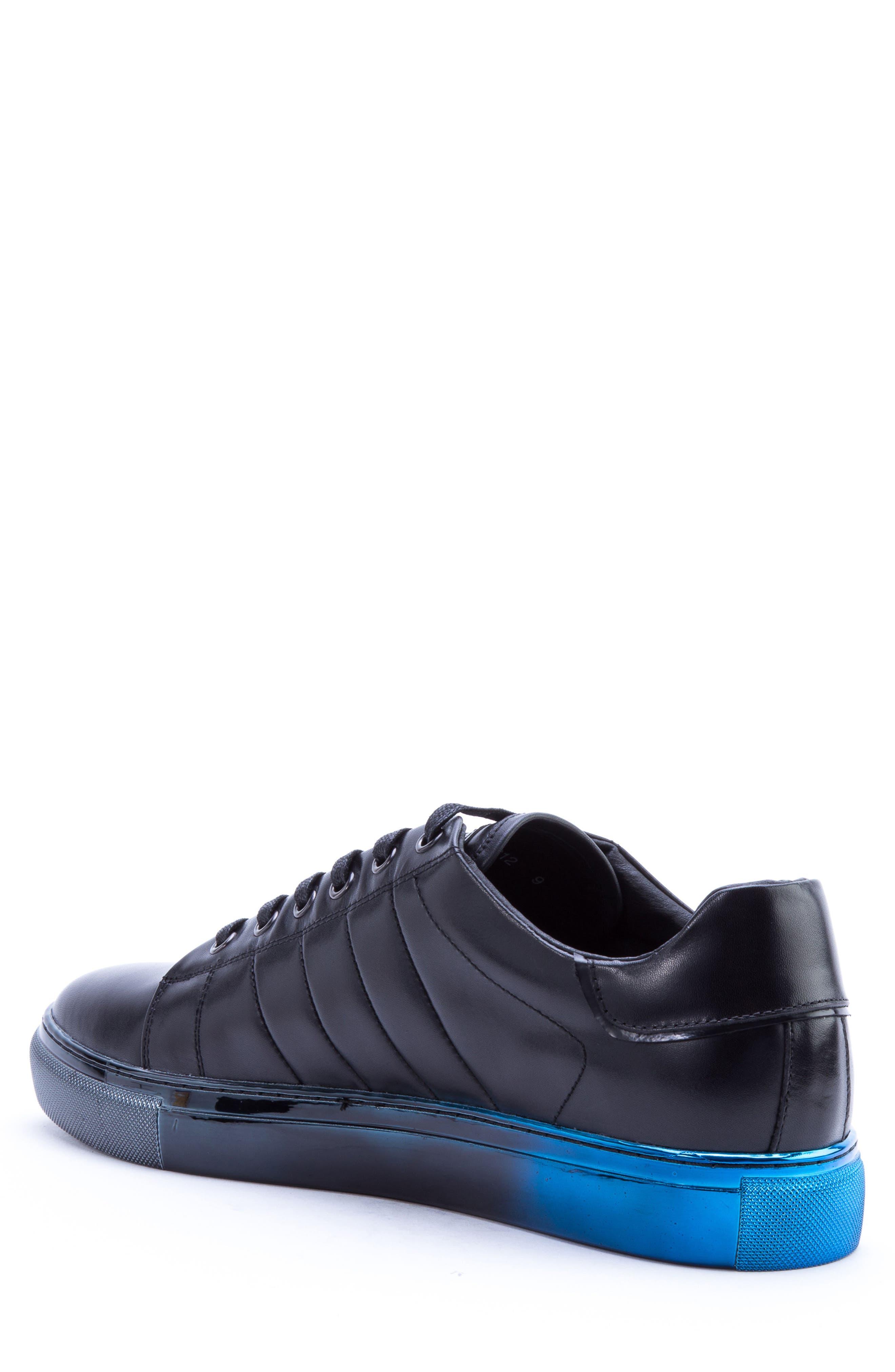 BADGLEY MISCHKA COLLECTION, Badgley Mischka Brando Sneaker, Alternate thumbnail 2, color, BLACK LEATHER