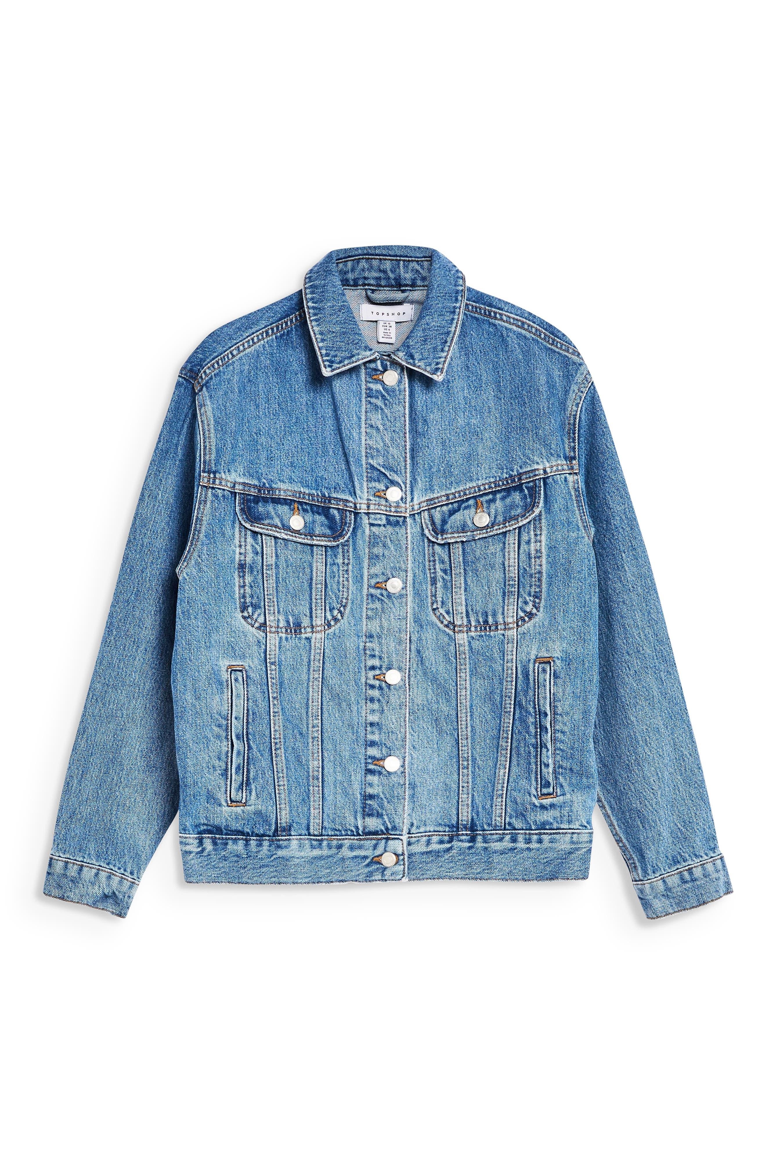 TOPSHOP, Oversized Denim Jacket, Alternate thumbnail 3, color, MID DENIM